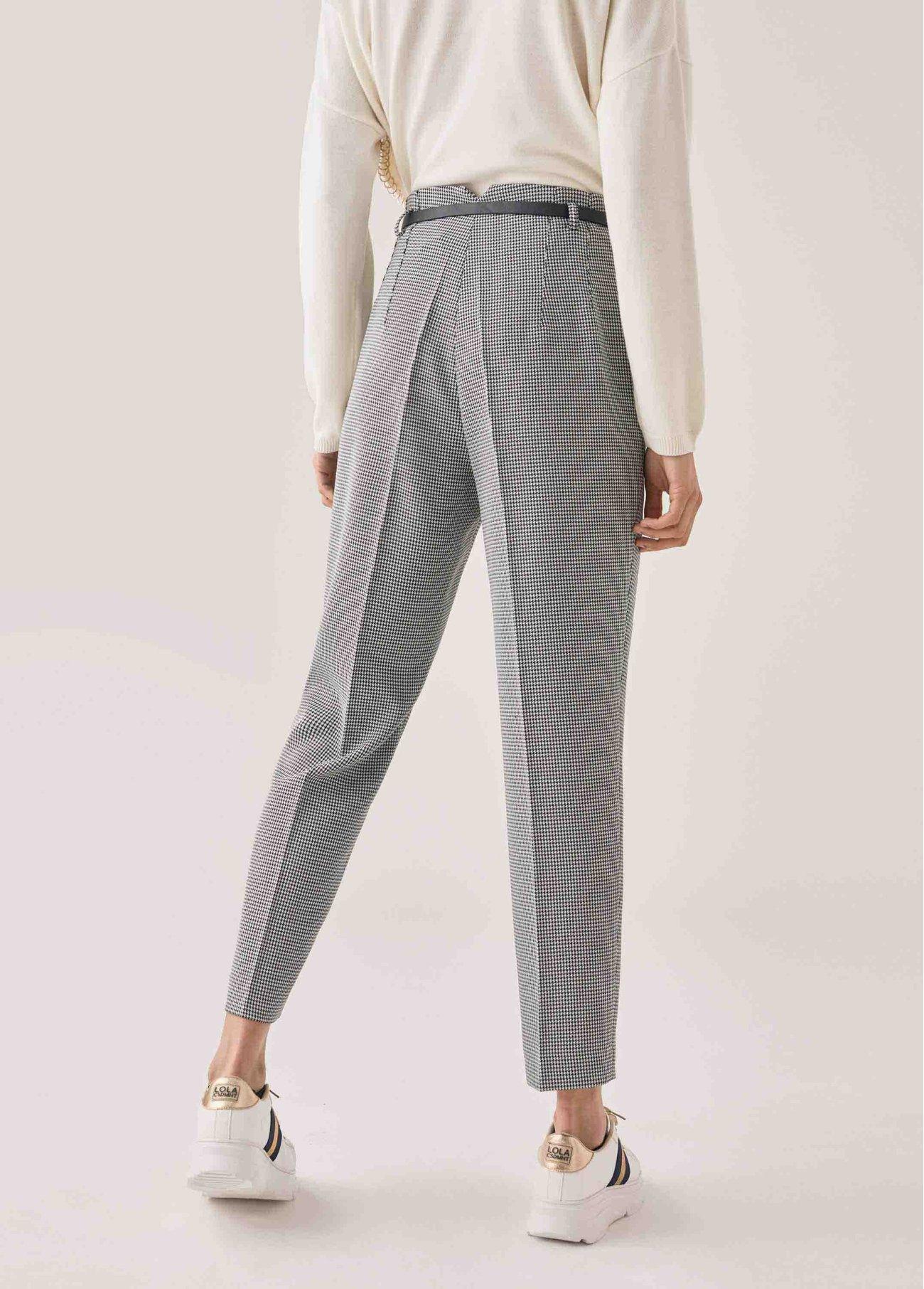Pantalón pitillo de cuadro vichy, gris 2