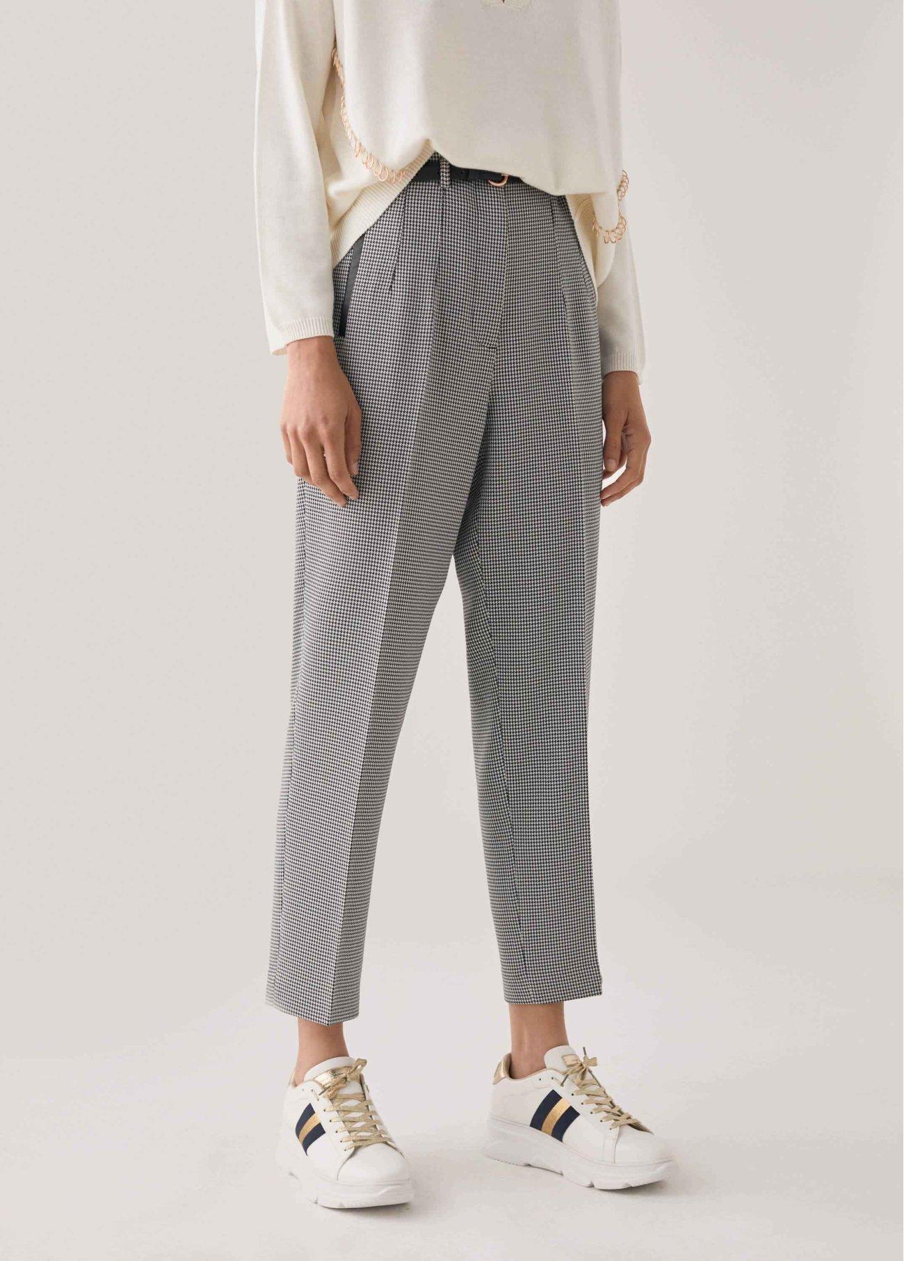 Pantalón pitillo de cuadro vichy, gris