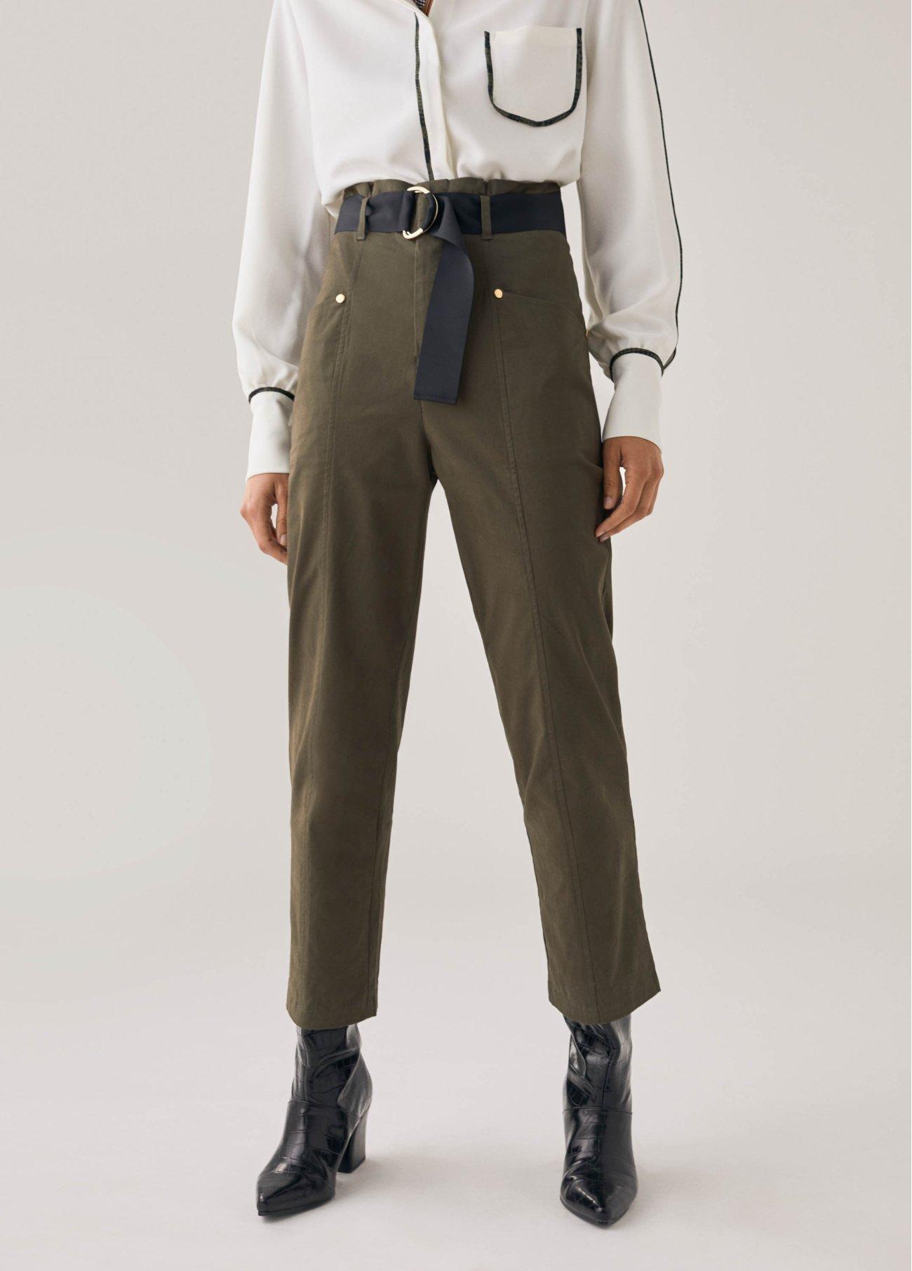 Pantalón cargo con cinturón, kaki 2