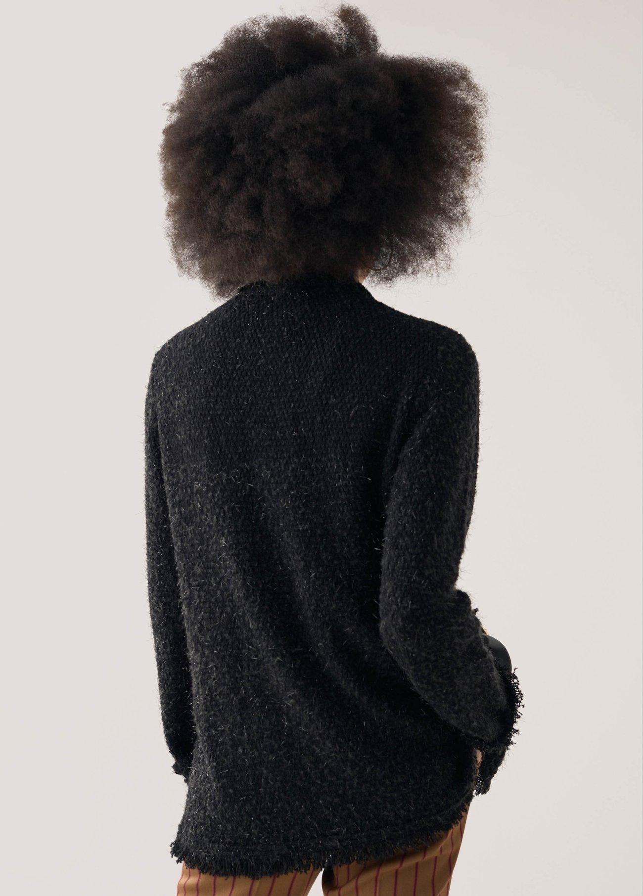 Chaqueta tweed con bolsillos frontales, negro 2