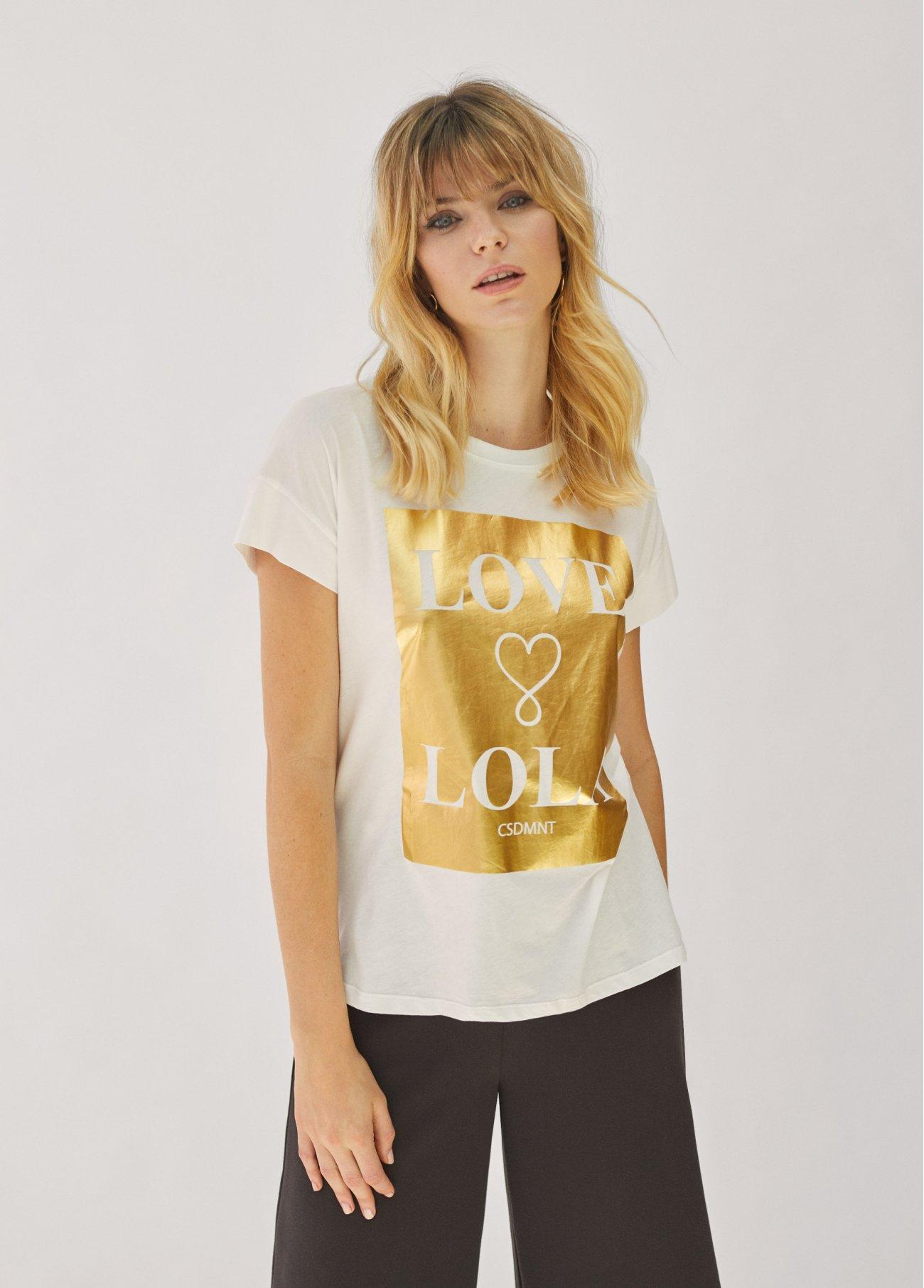 Camiseta Love Lola, rosa, dorado