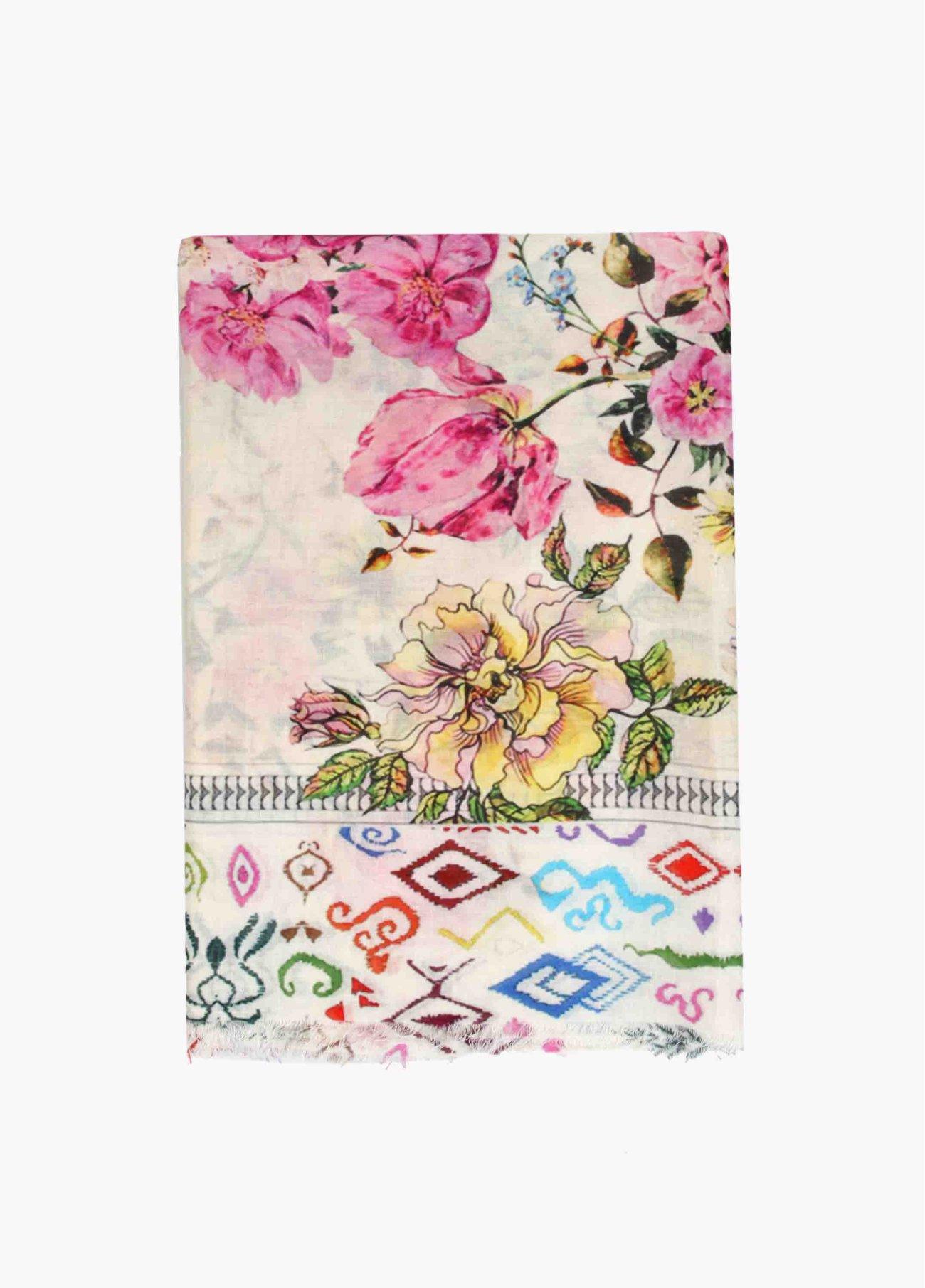 Pañuelo estampado fondo rosas y flores,  2