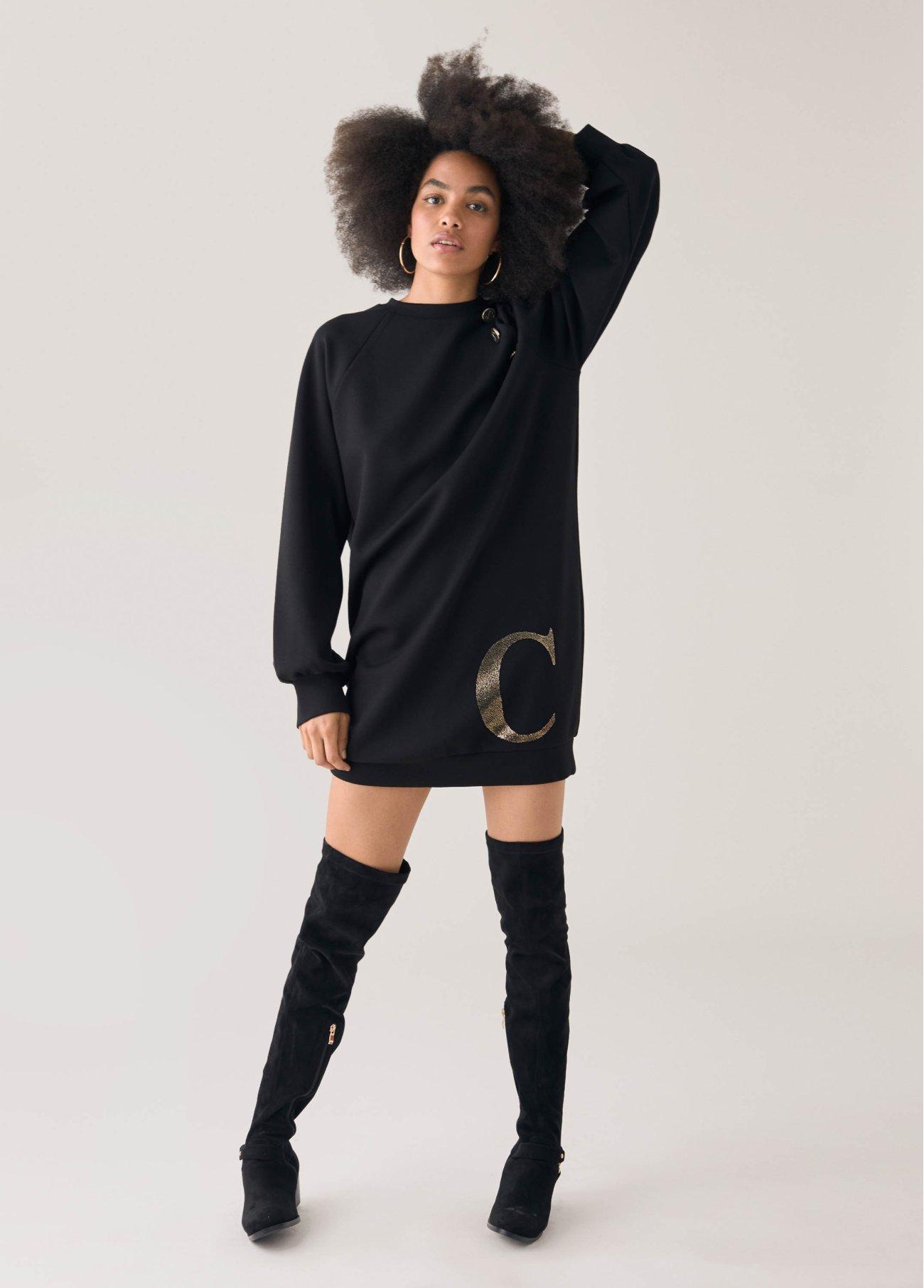 Vestido con detalle letras, negro 2