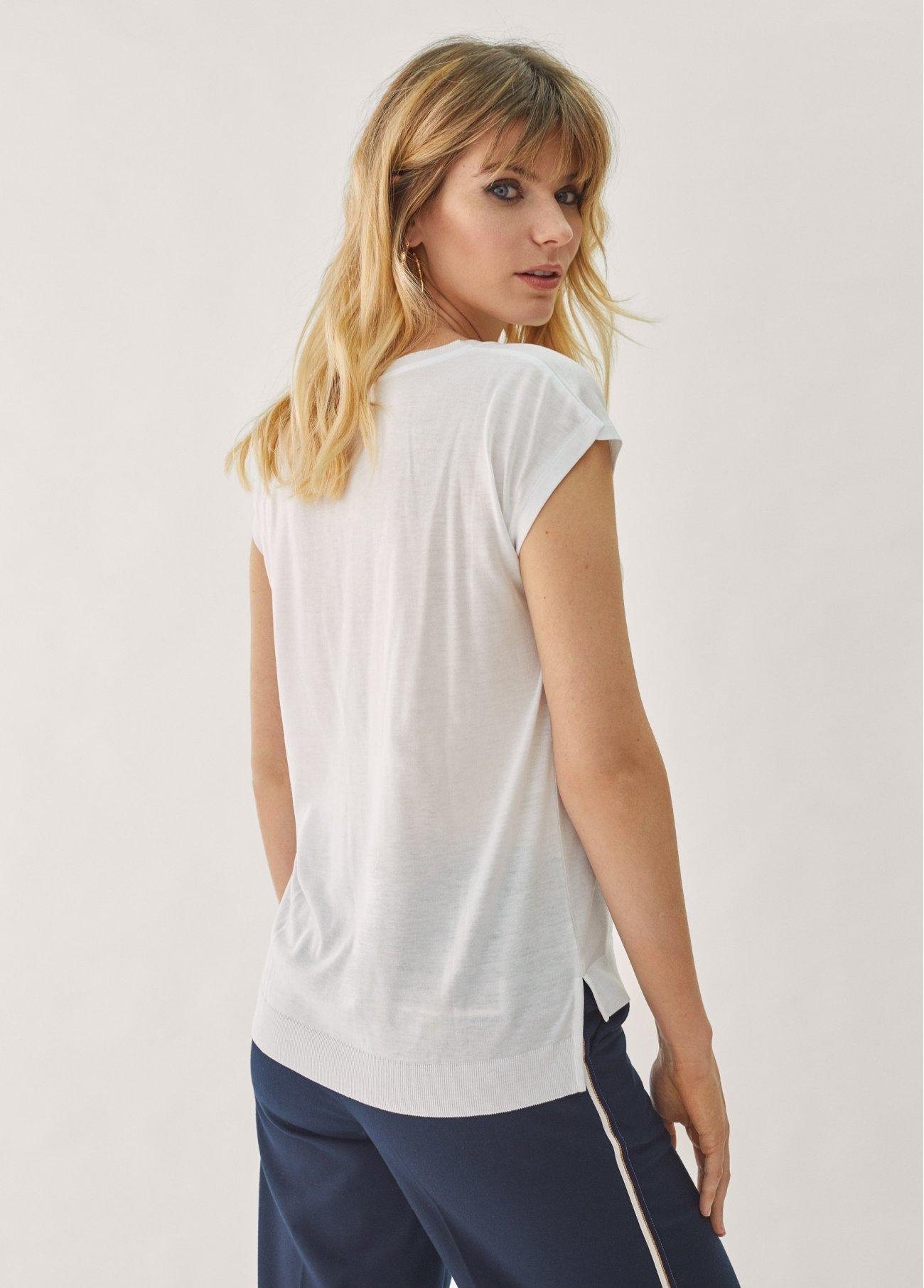 Camiseta básica V, marino, crudo 2