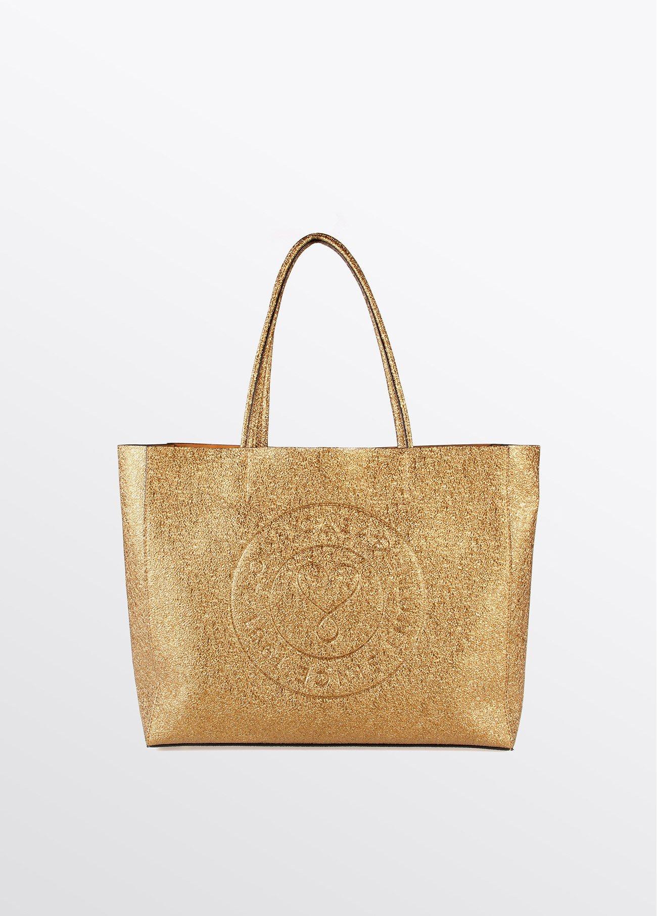 Bolso shopper brillante, marino, dorado
