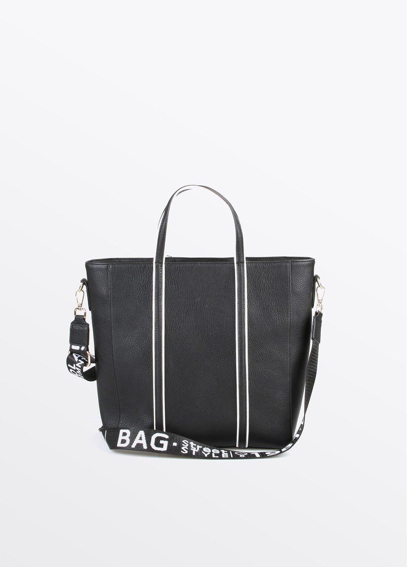 Bolso shopper con ribete blanco, negro 2