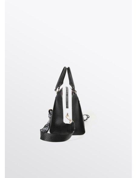 Bolso bowling con ribete blanco, negro