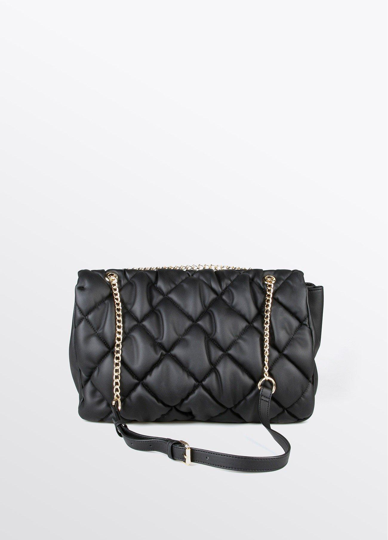 Bolso maxi acolchado con cadena, negro 2