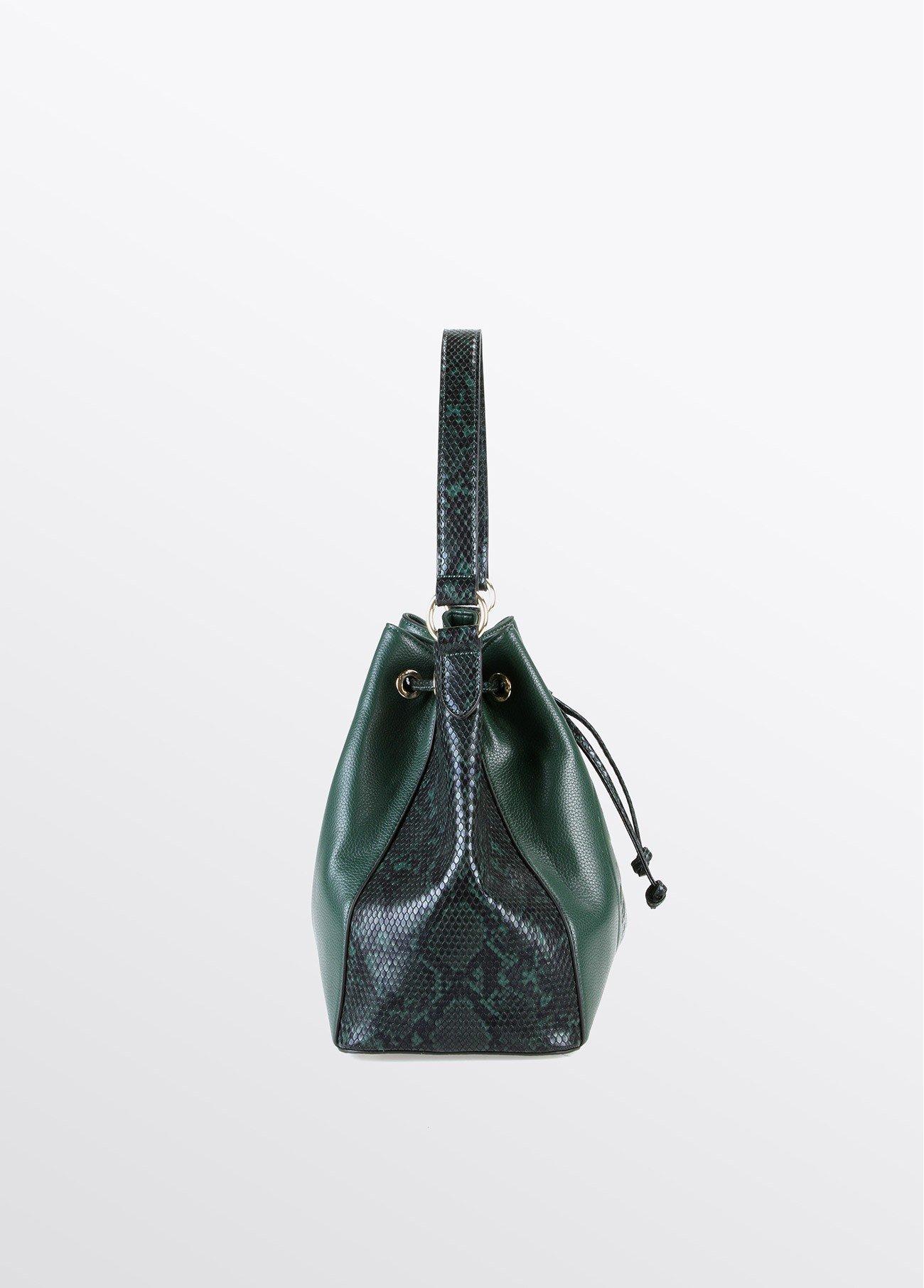 Bolso saco estampado serpiente, verde 2
