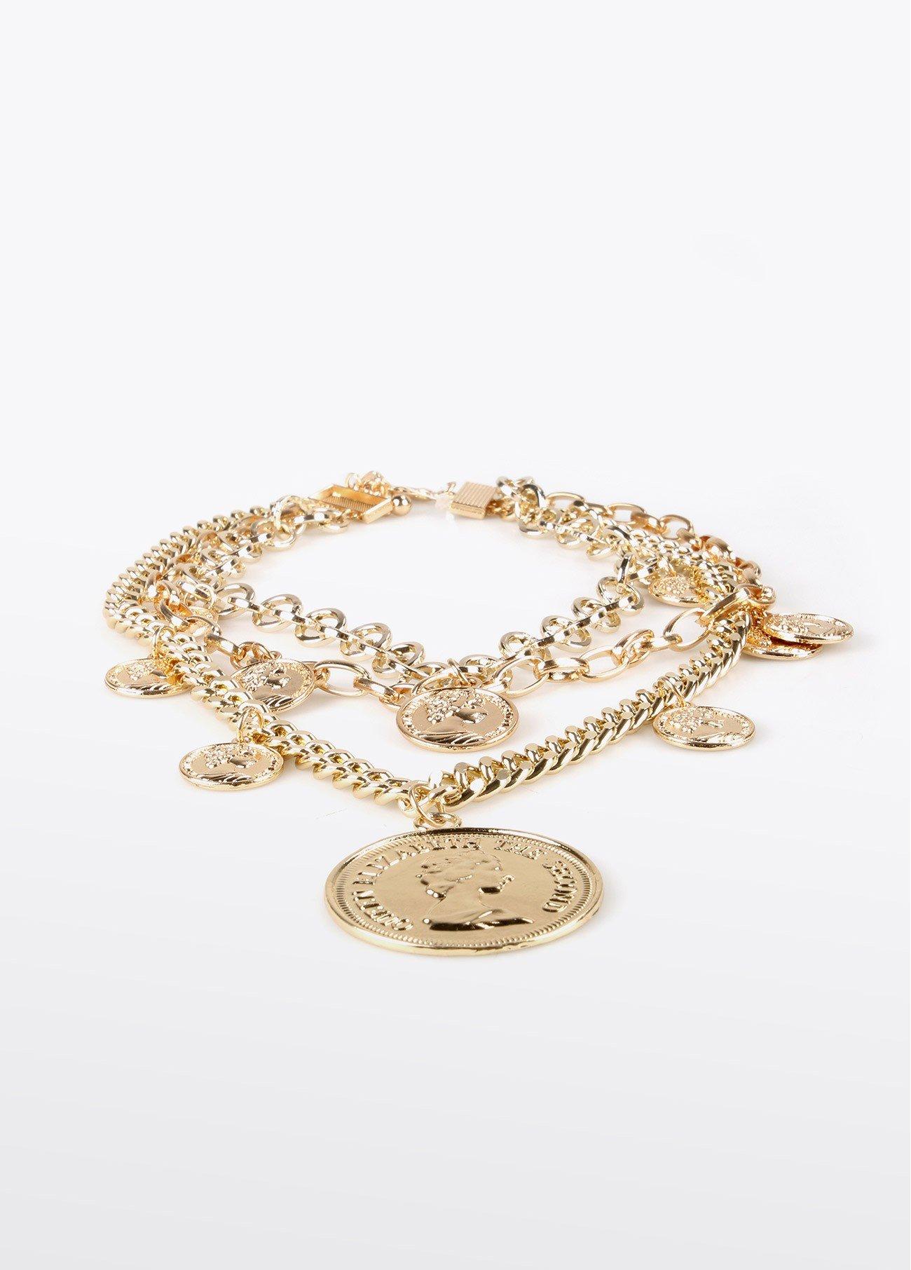Collar multi cadenas colgante moneda, dorado 2