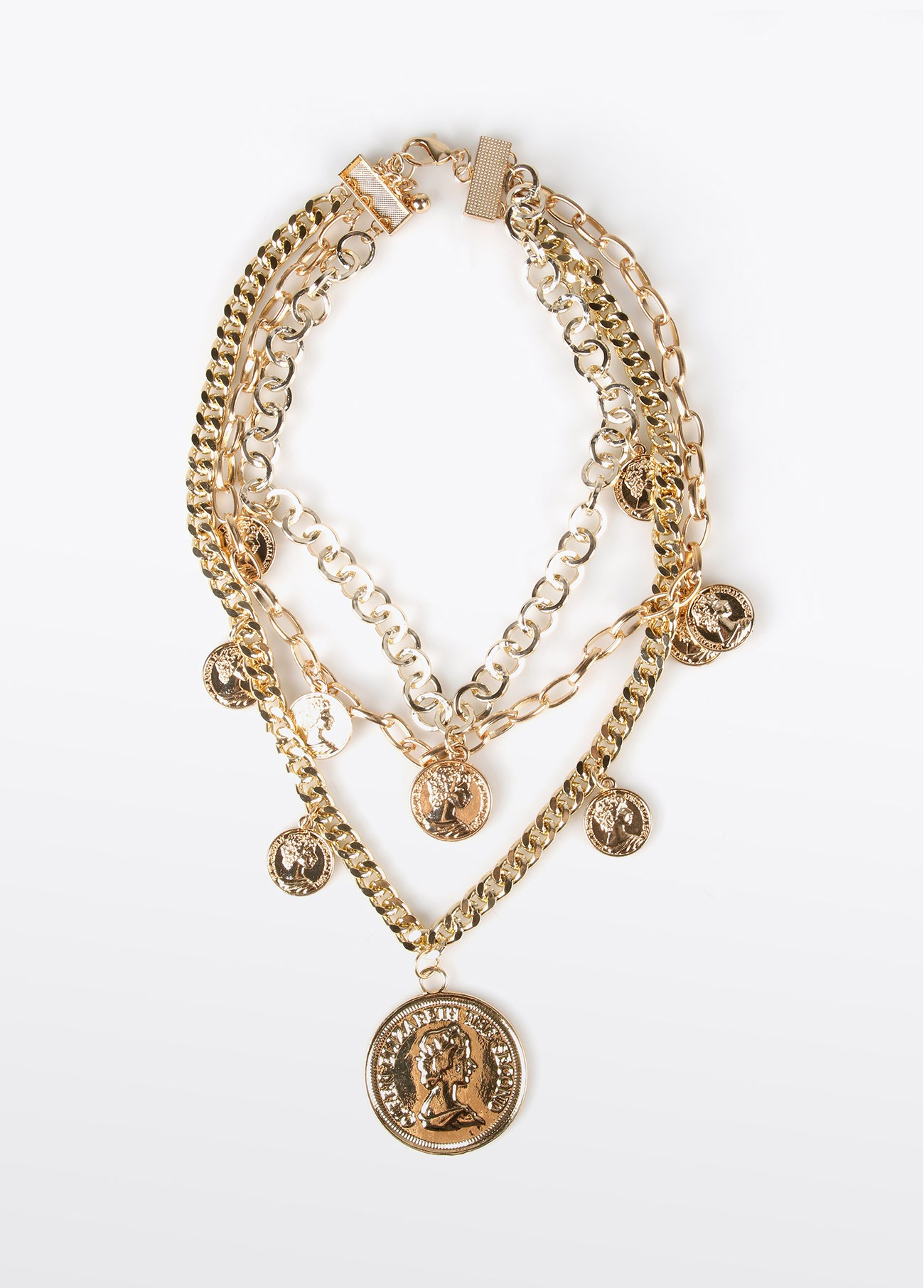 Collar multi cadenas colgante moneda, dorado