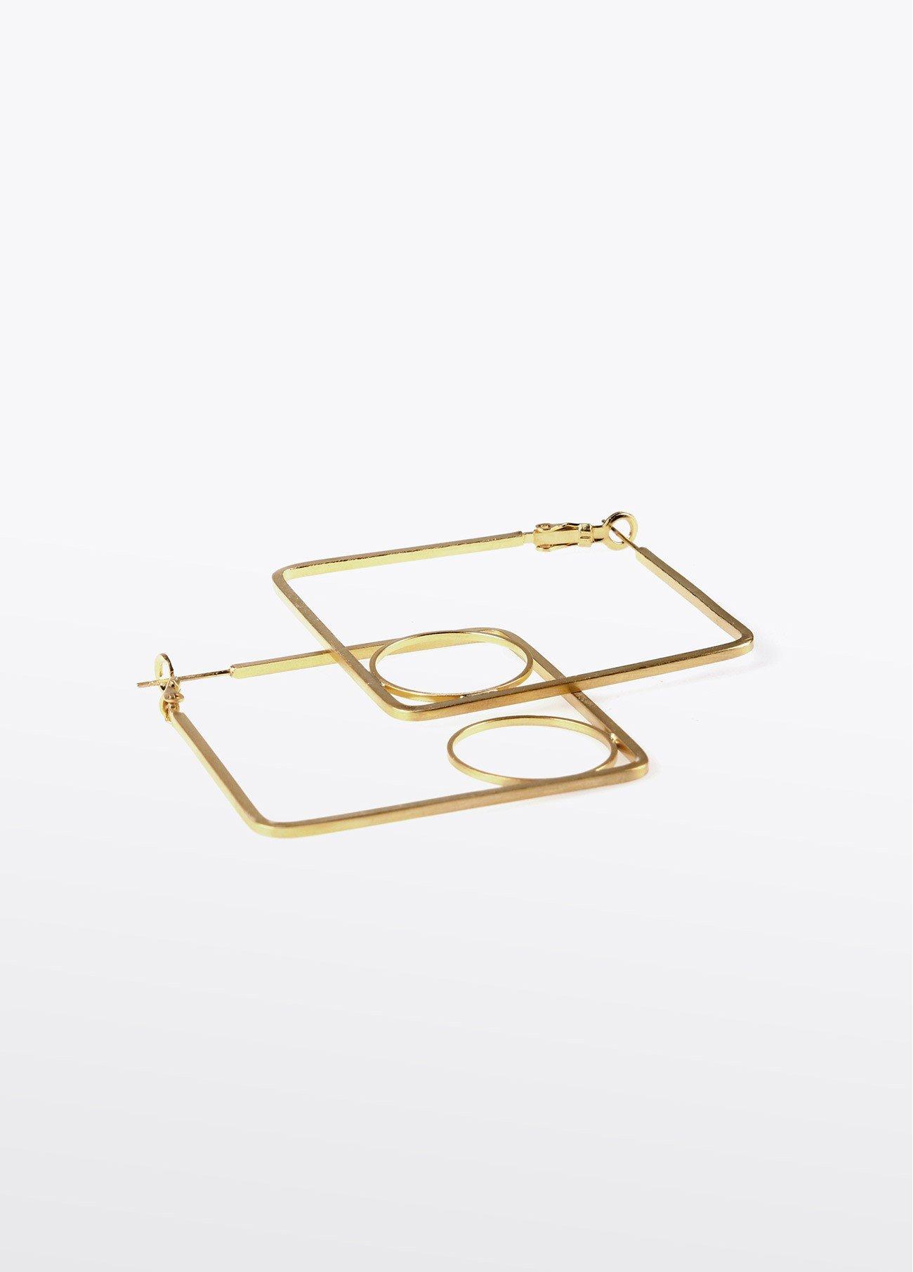 Pendientes cuadrados detalle círculo, dorado 2