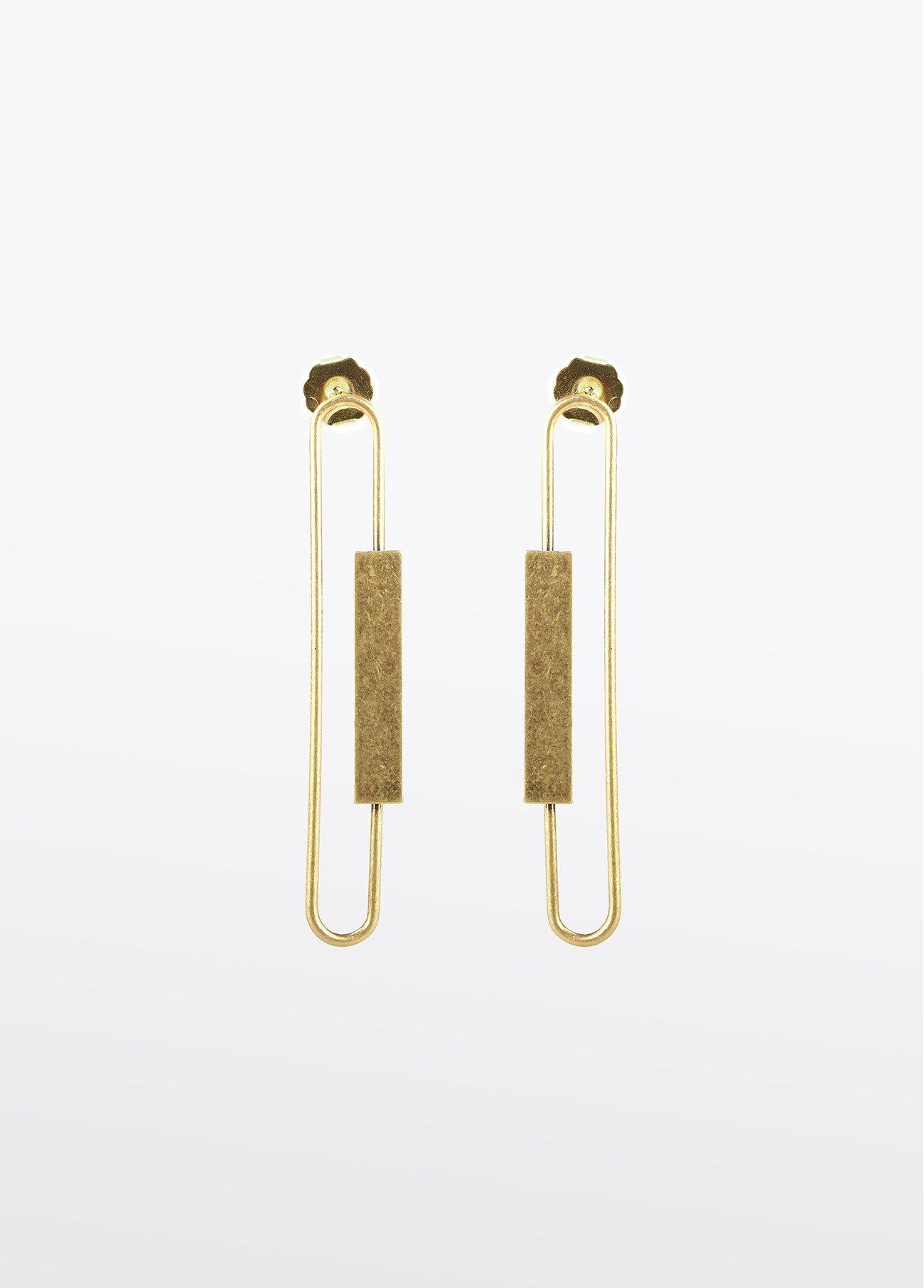 Pendientes largos de pieza rectangular, dorado 2