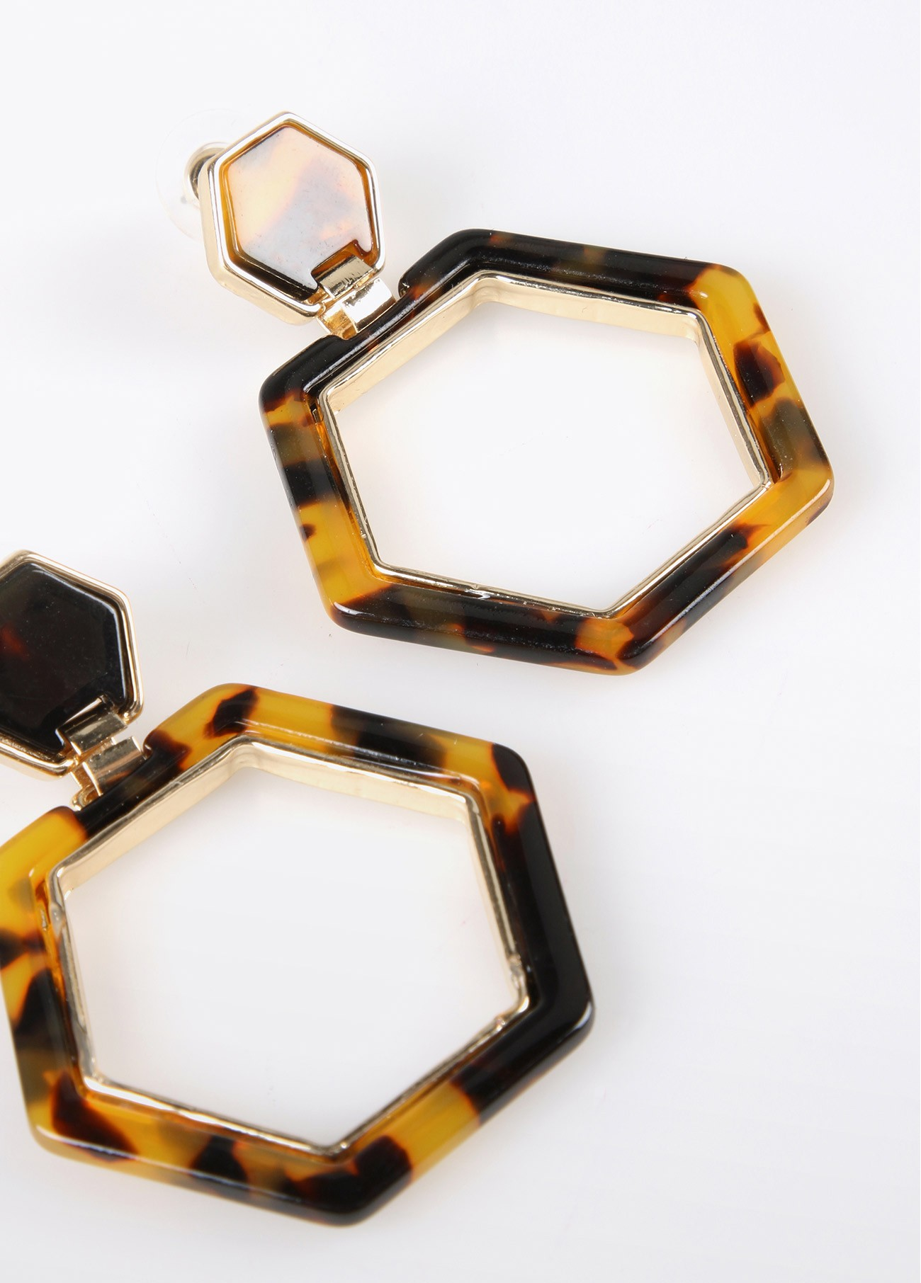Pendientes hexágono carey, bicolor 2