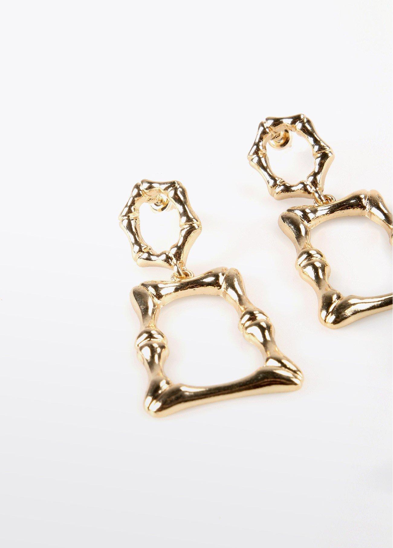 Pendientes rectángulo irregular, dorado 2