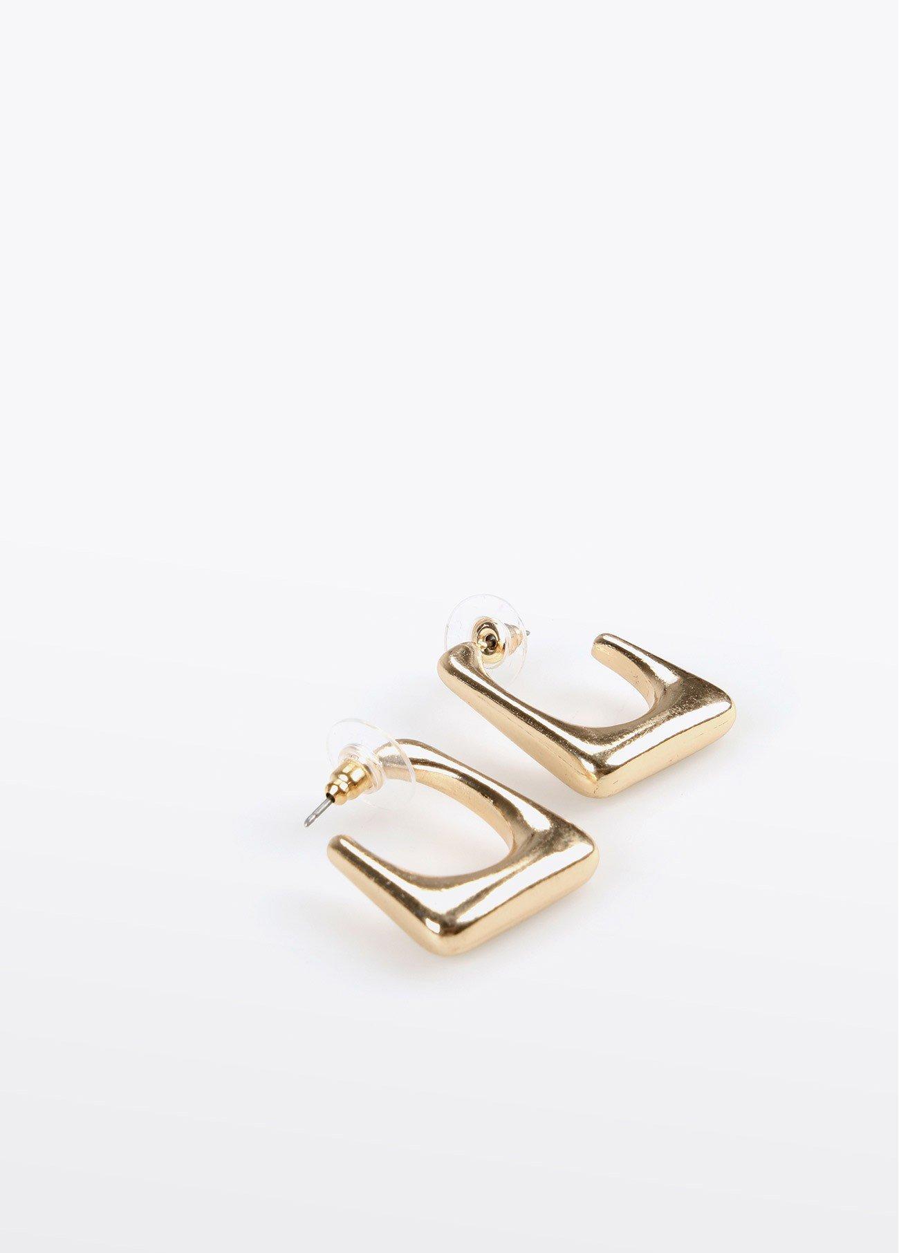 Pendientes arito cuadrado curva, dorado 2