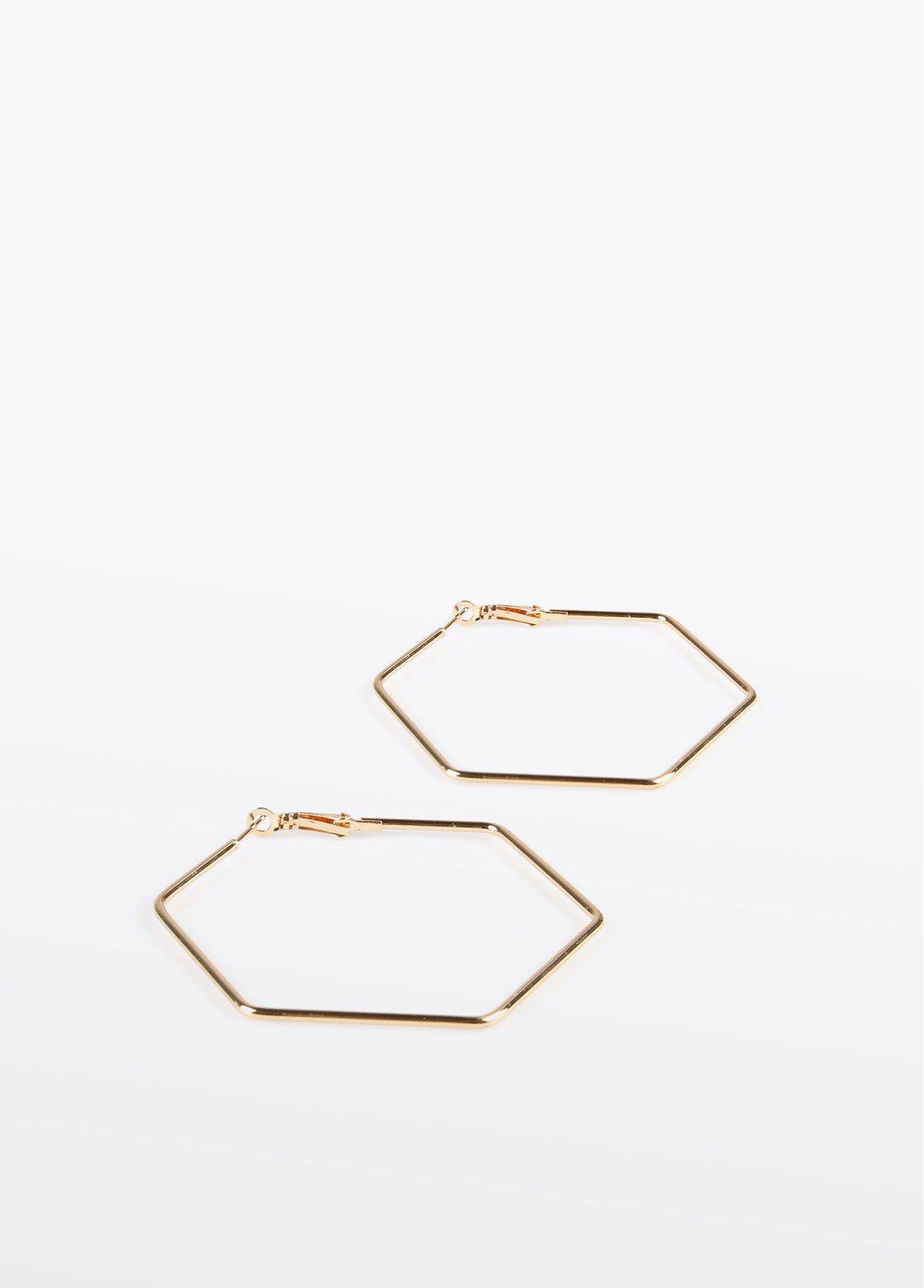 Pendientes aro hexagonal, dorado