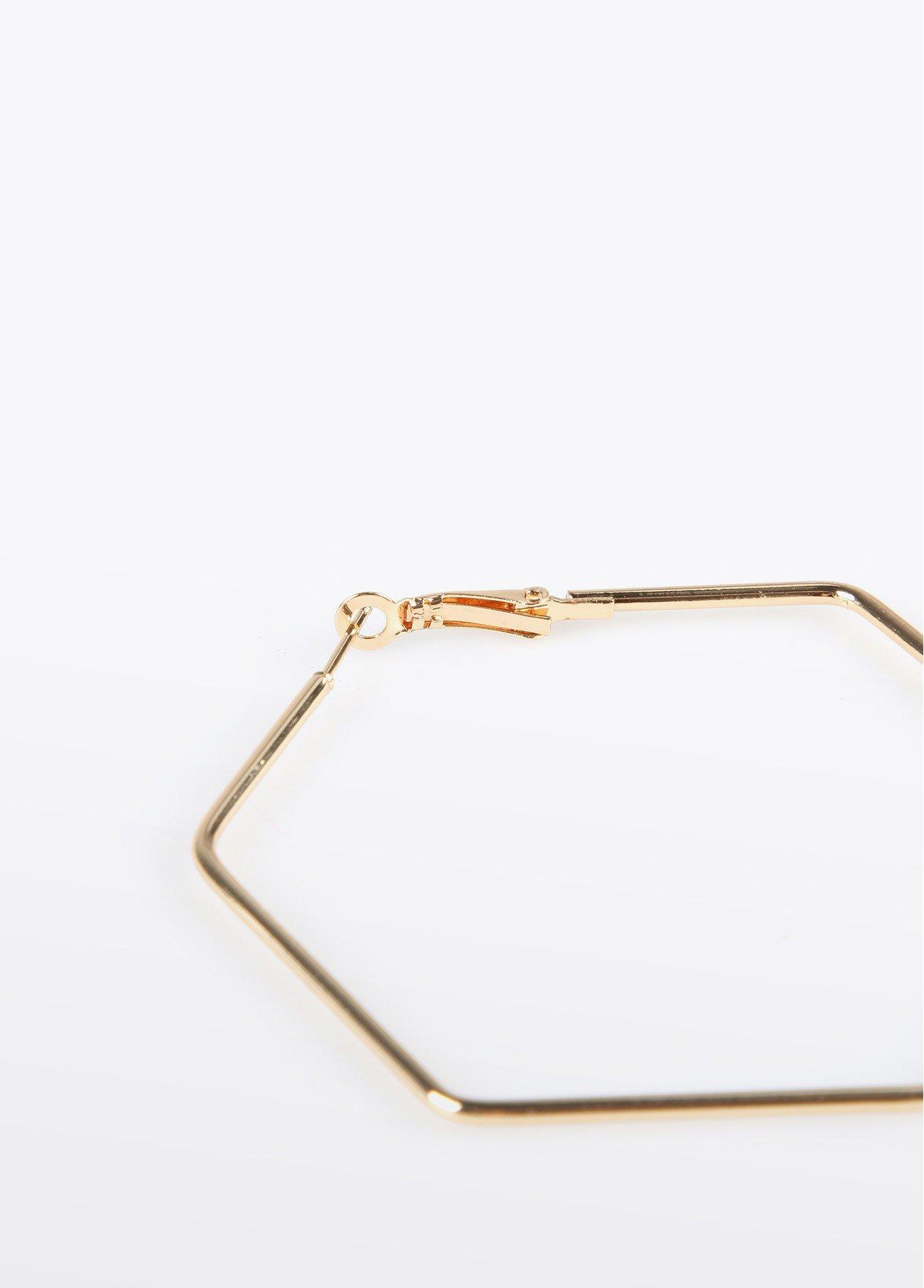 Pendientes aro hexagonal, dorado 2