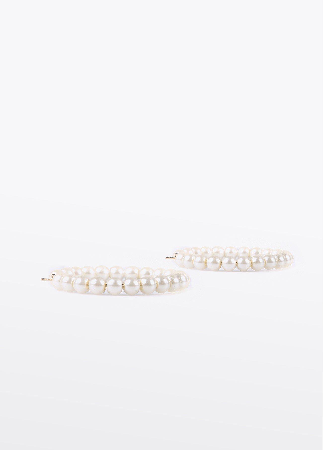 Pendientes de perlas en forma de aro, blanco 2