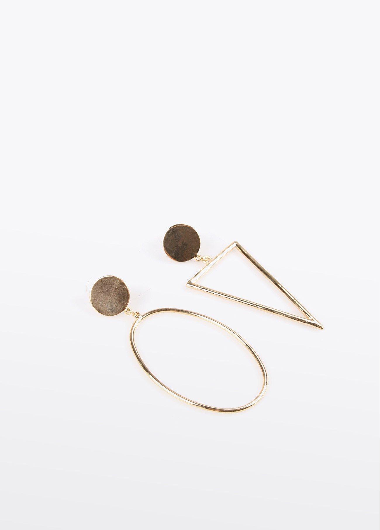 Pendientes ovalados y triangulo, dorado