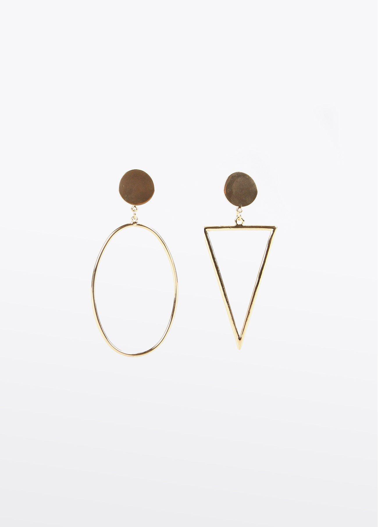 Pendientes ovalados y triangulo, dorado 2