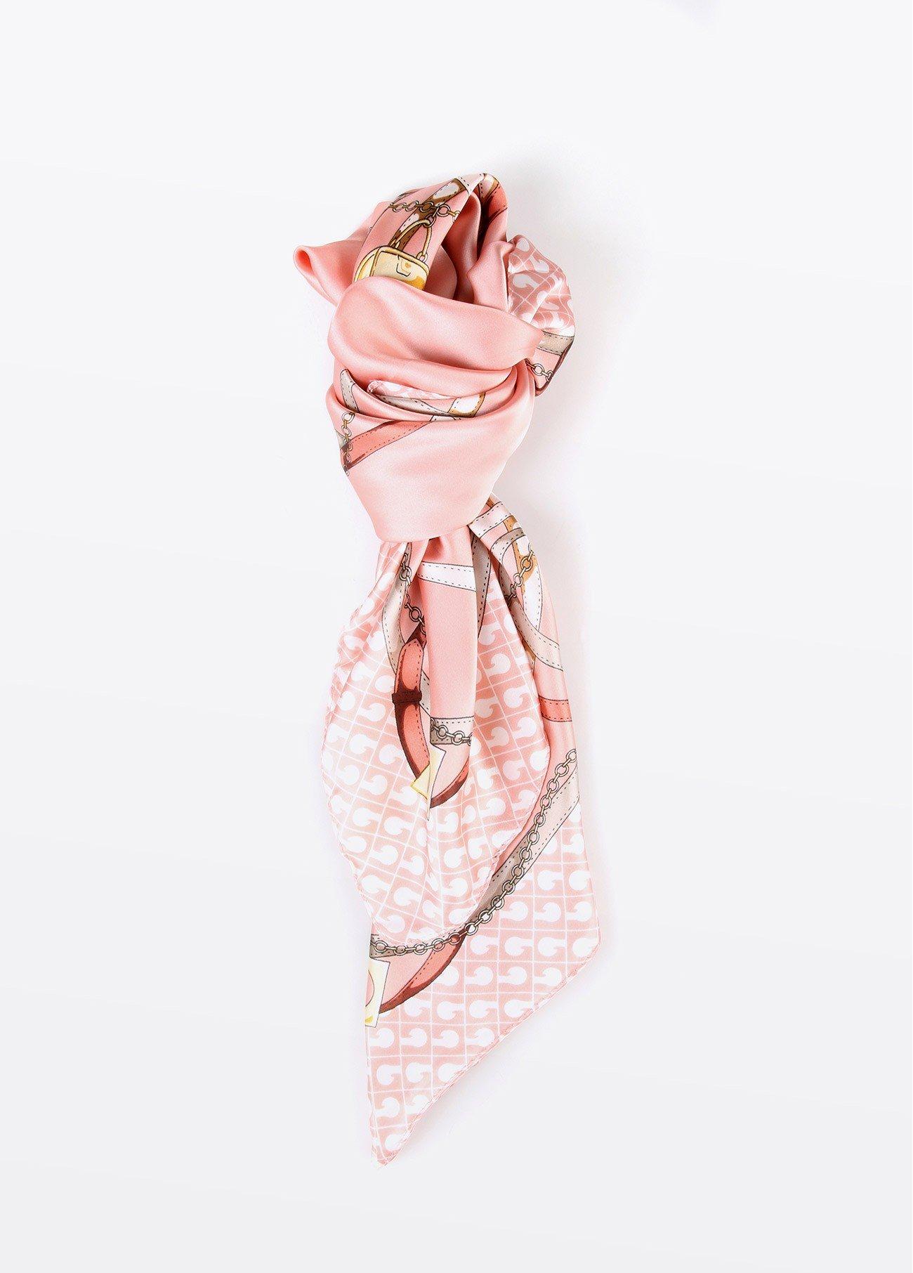 Pañuelo cuello estampado, rosa, verde 2