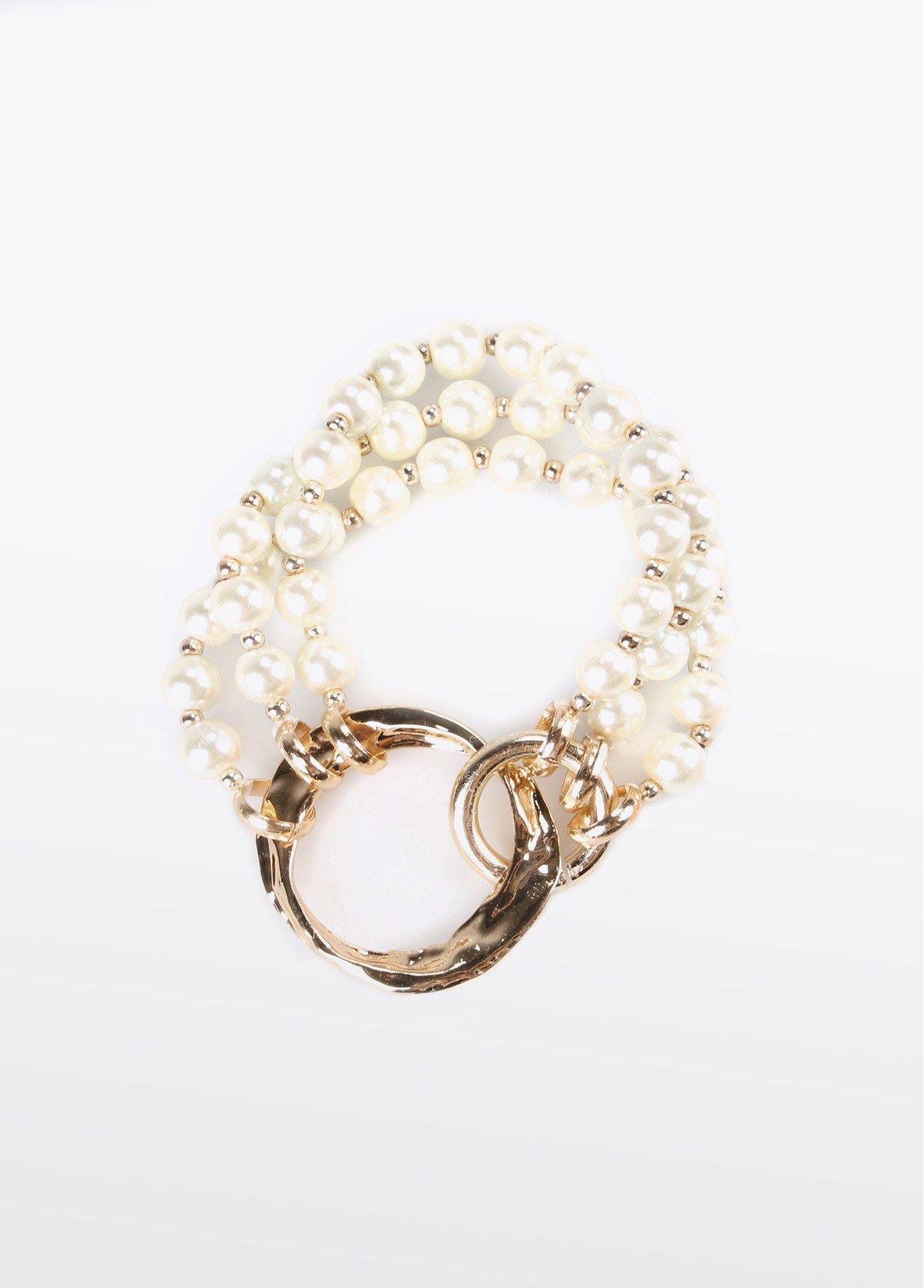Pulsera perlas argolla dorada, blanco 2