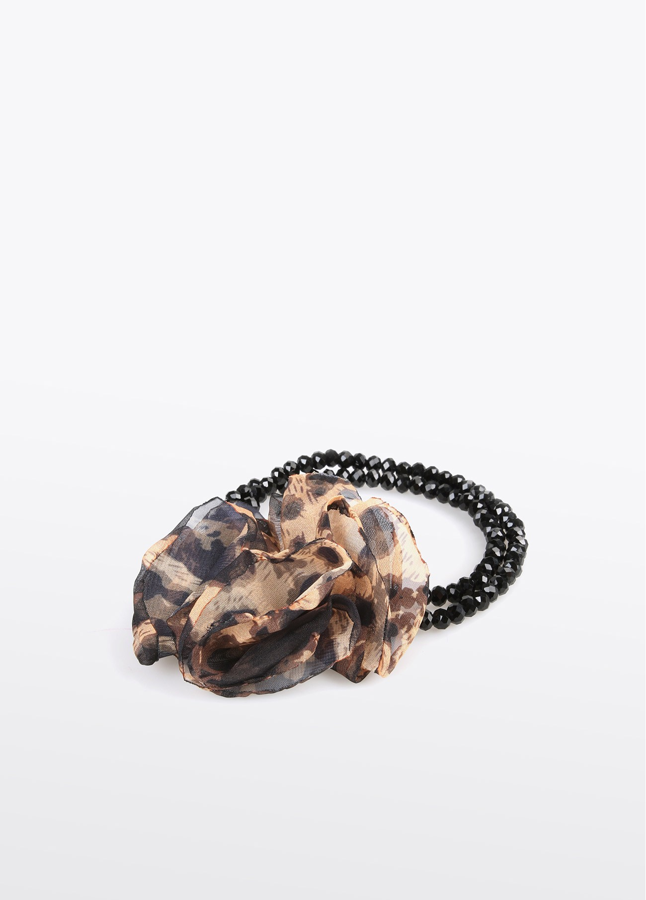Pulsera piedras facetadas y flor leopardo, negro 2
