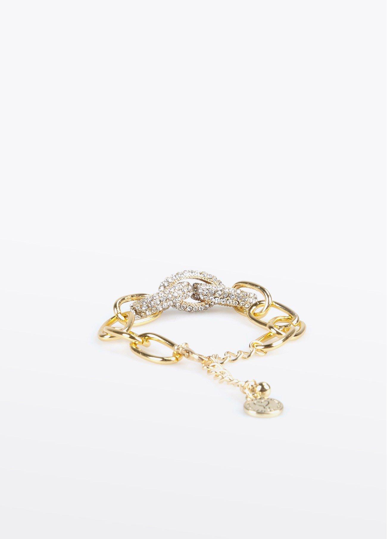 Pulsera dorada eslabones brillantitos, dorado 2