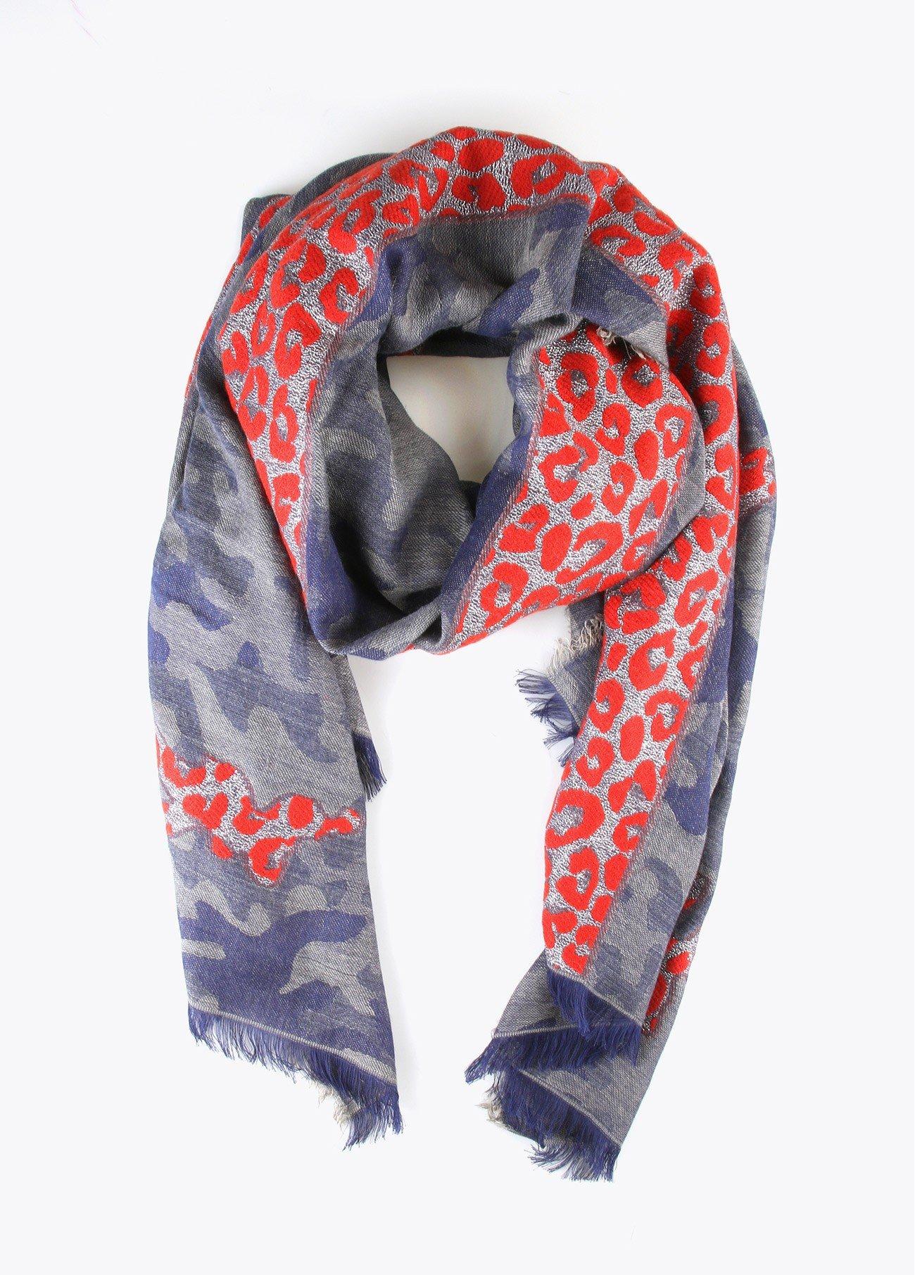 Chal militar raya leopardo, azul, beige, gris 2