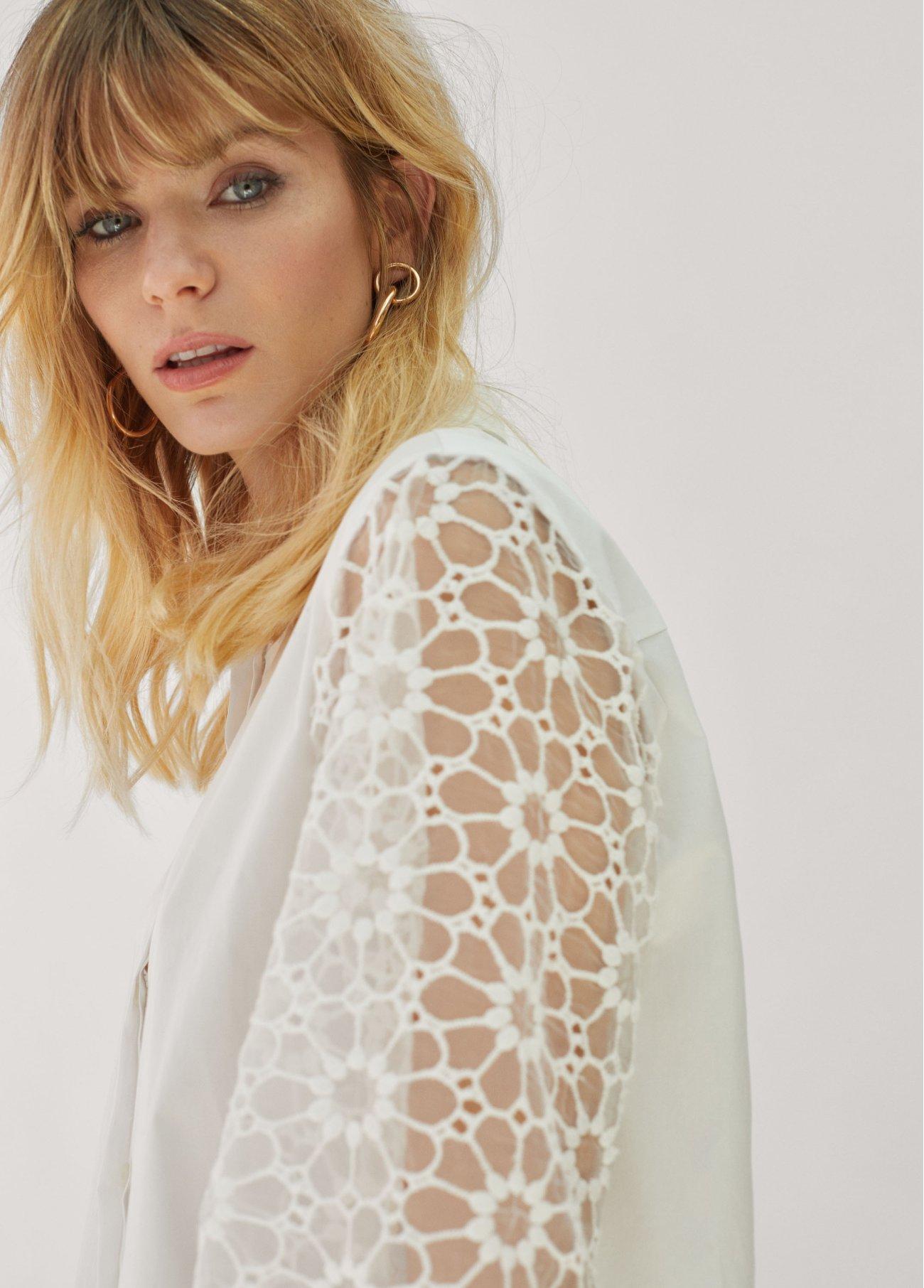 Blusa con mangas de organza, blanco 2