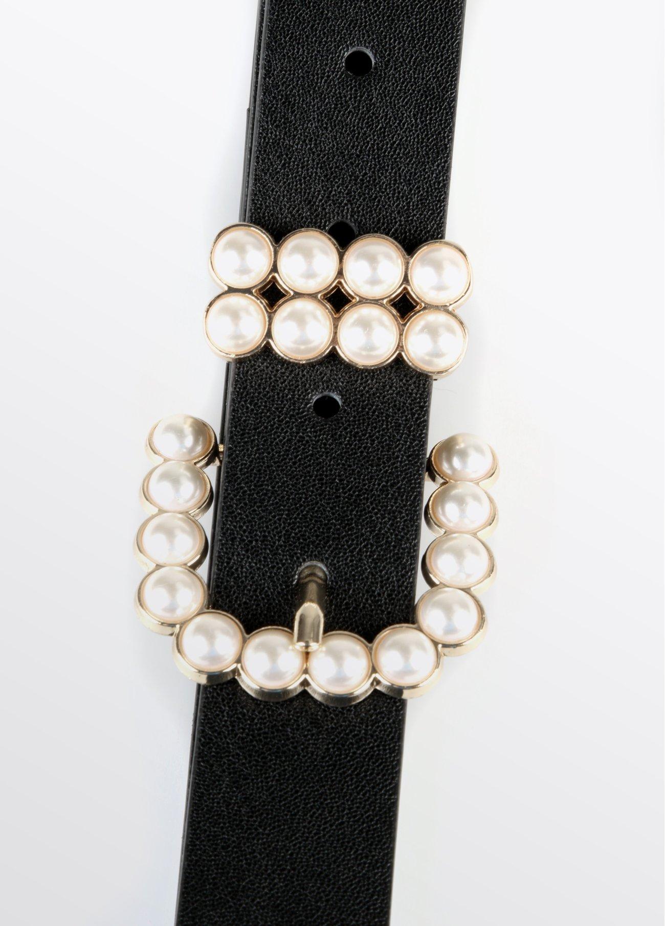 Cinturón hebilla perlas, negro 2