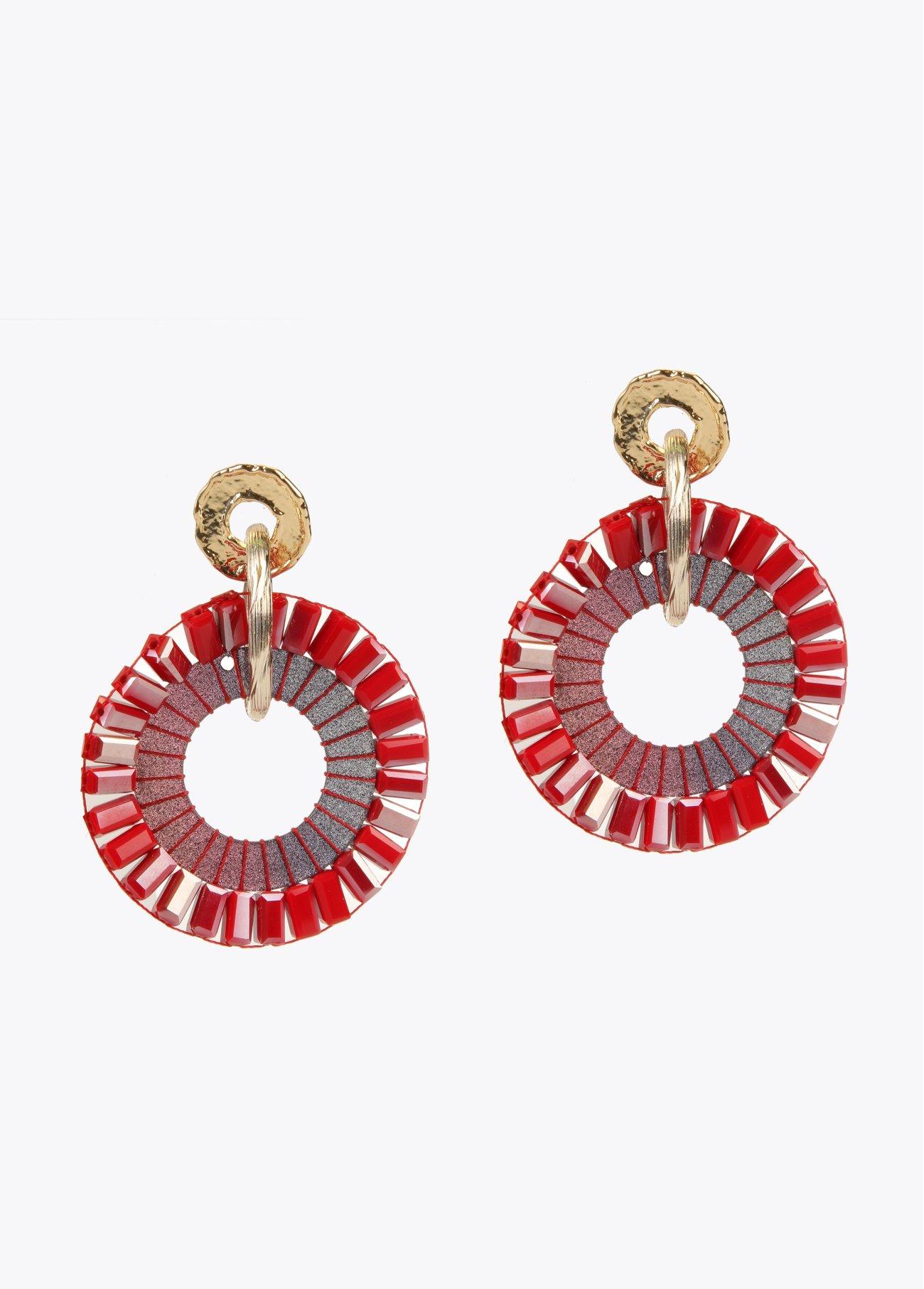 Pendientes aro piedras cristal y resinas, rojo 2