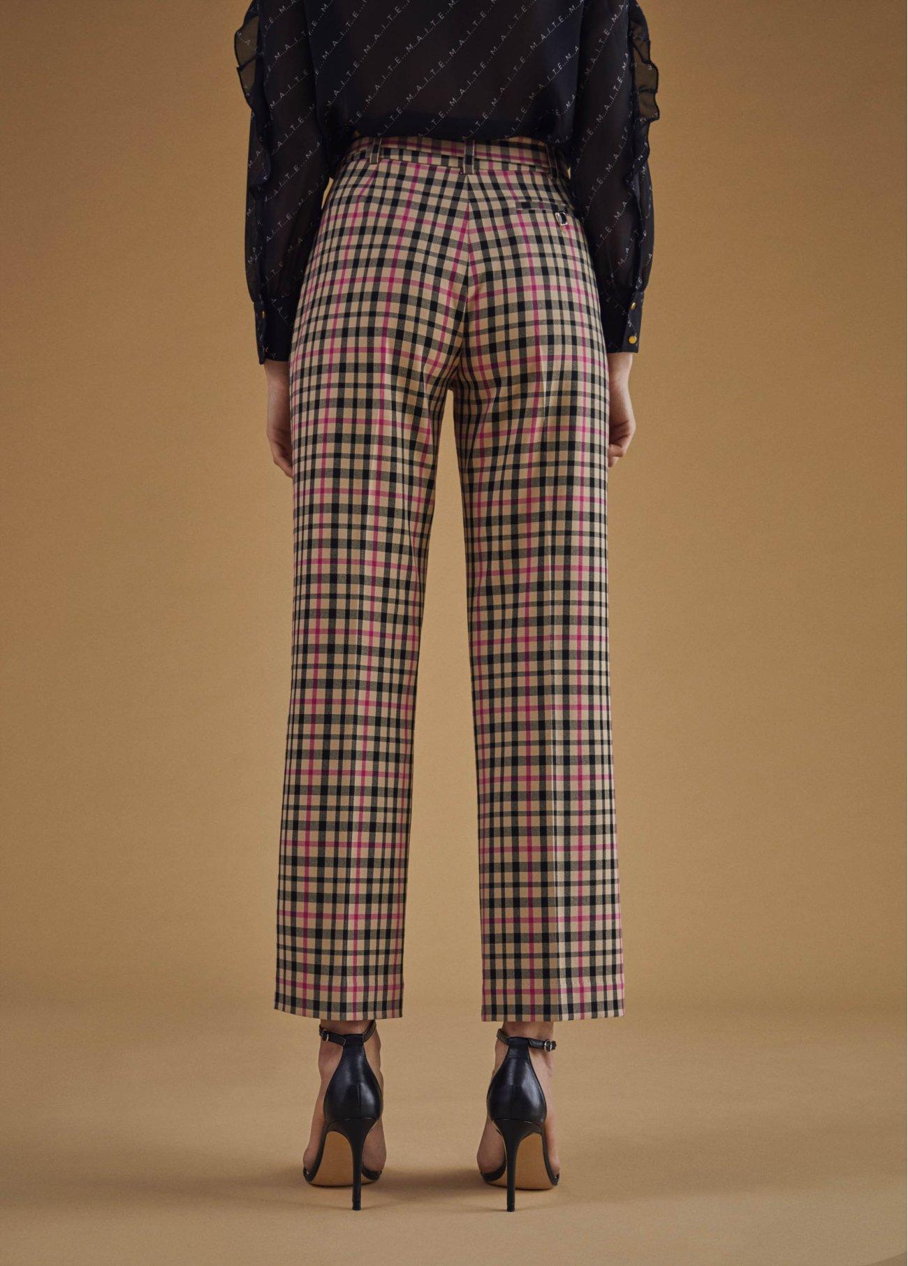 Pantalón capri de cuadros, fucsia 2