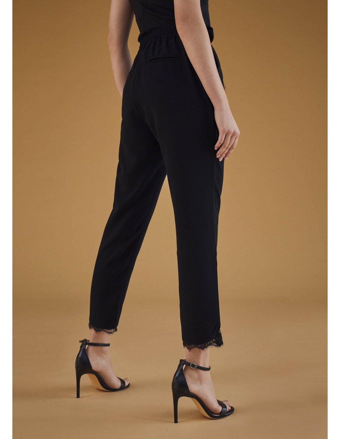 Pantalón jogging con puntilla, negro