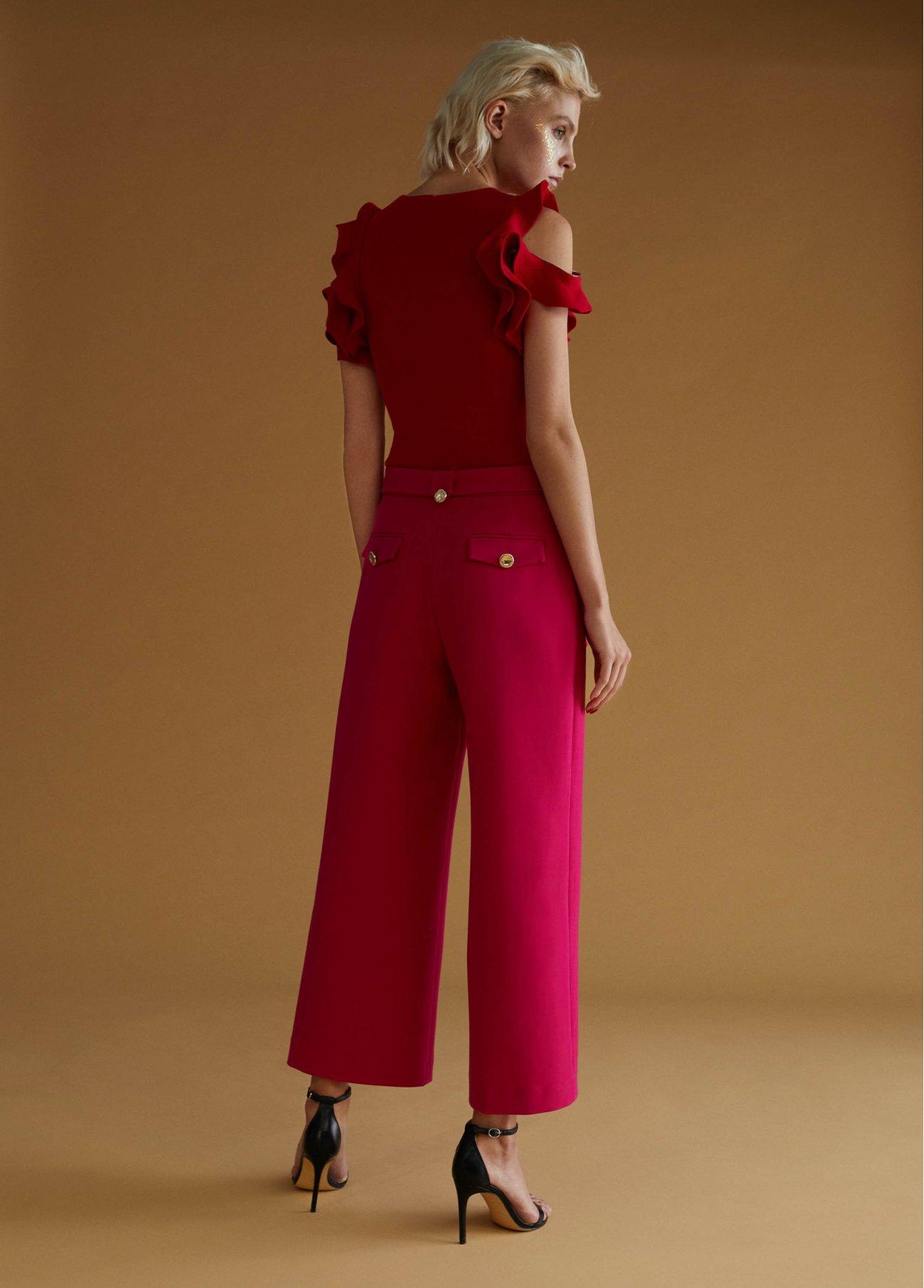 Pantalón culotte con cinturón, fucsia 2