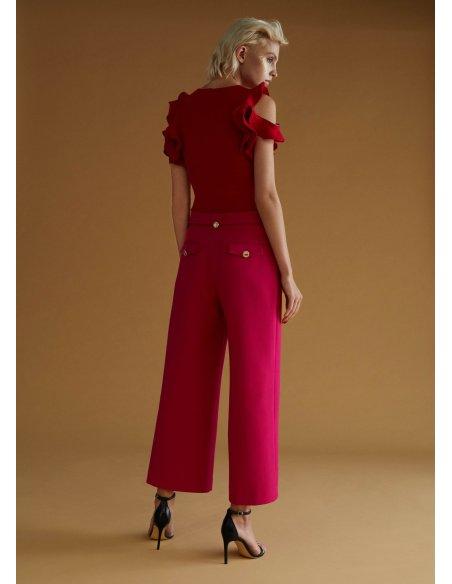Pantalón culotte con cinturón, fucsia