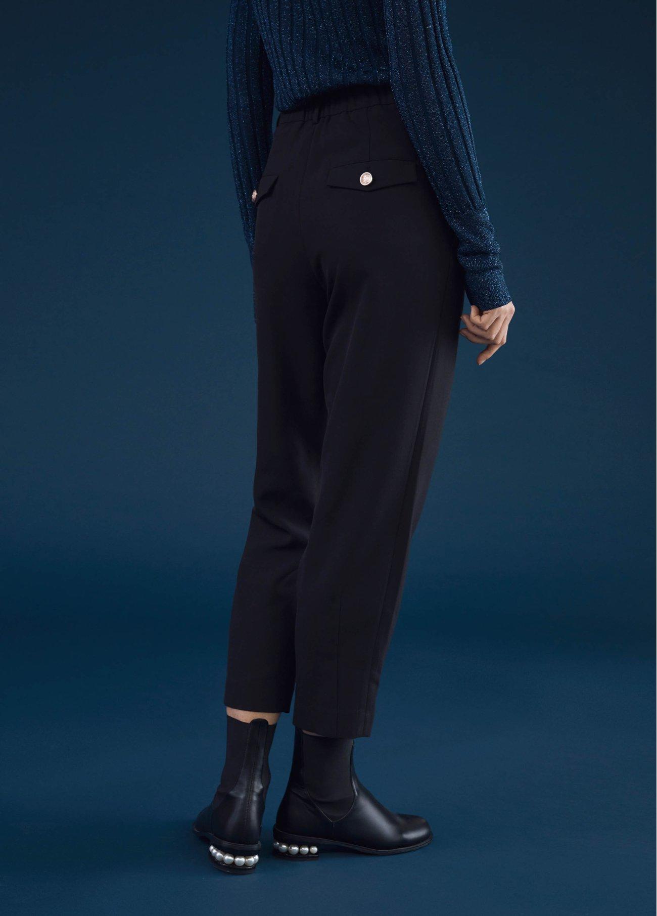 Pantalón con pinzas cintura alta, negro 2