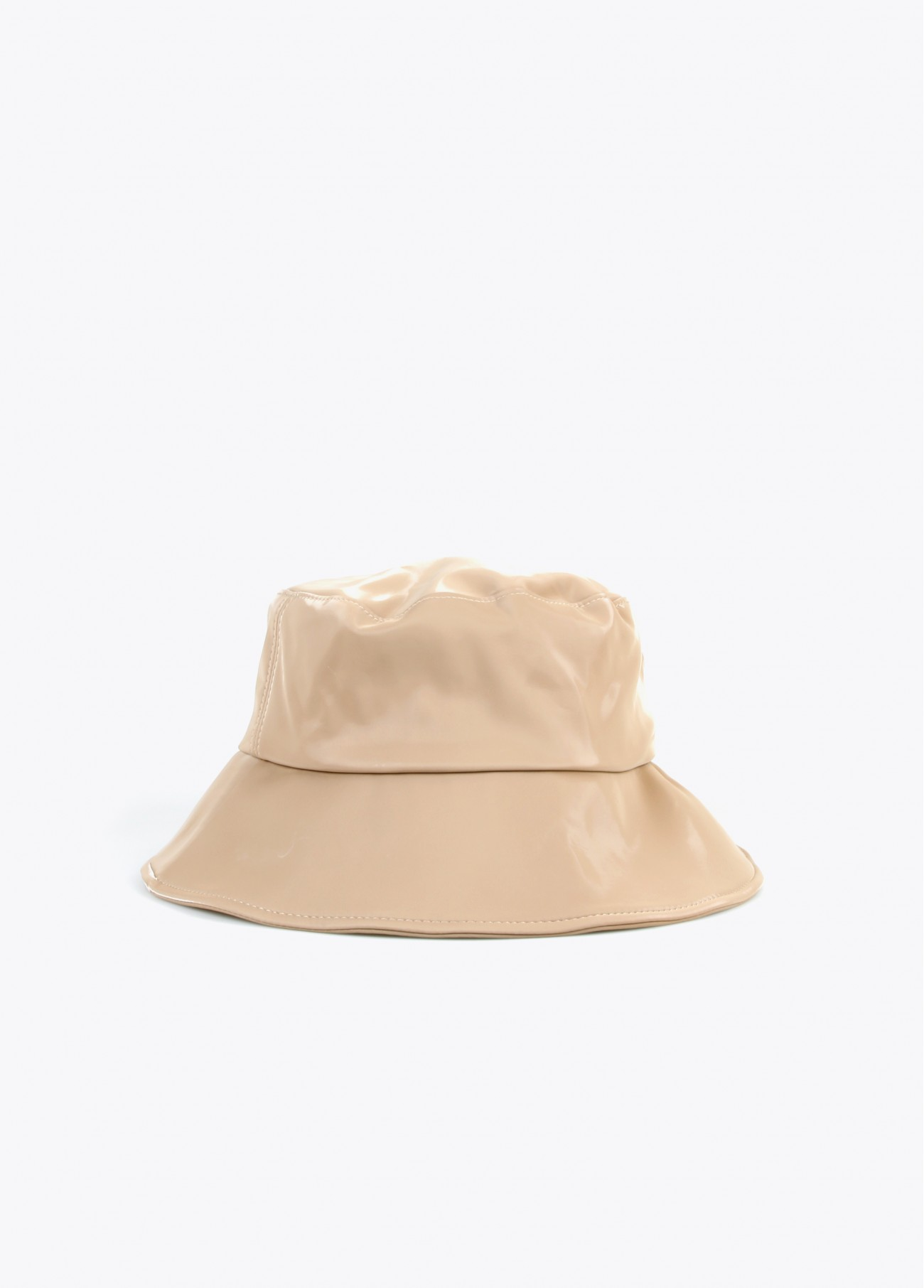 Sombrero bucket ecopiel, negro, beige 2