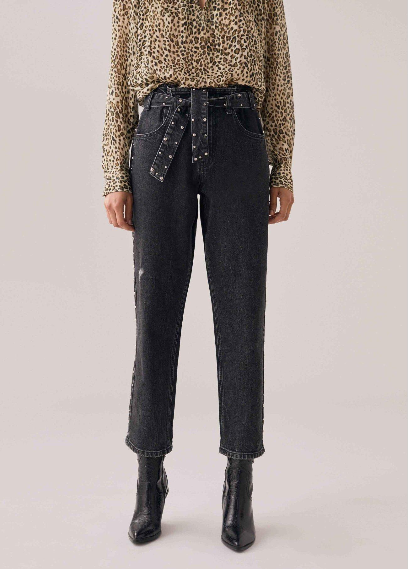 Jeans Paper bag con tachuelas doradas., negro 2