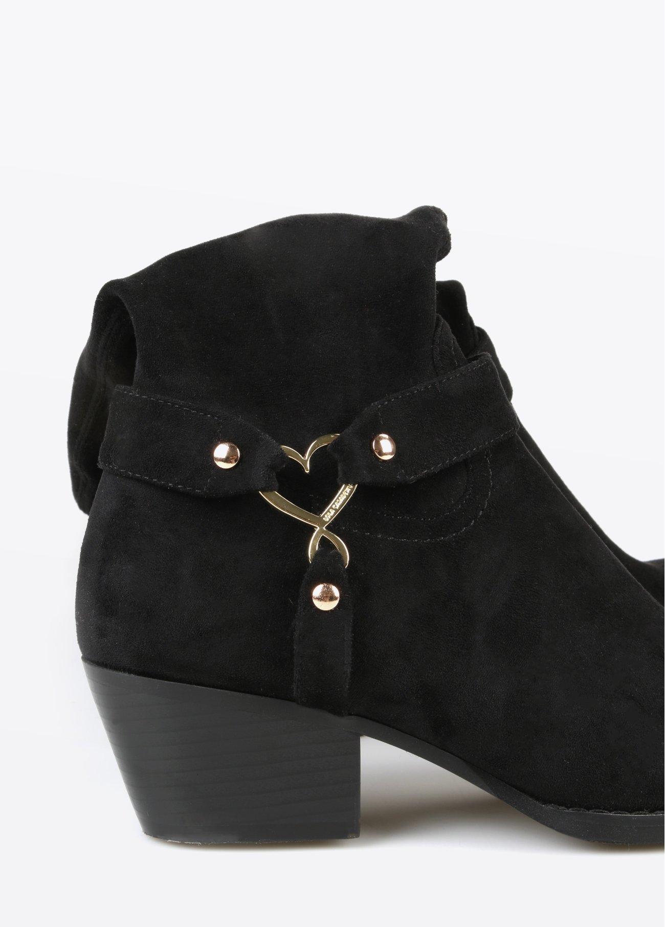 Botas altas corazón, negro 2