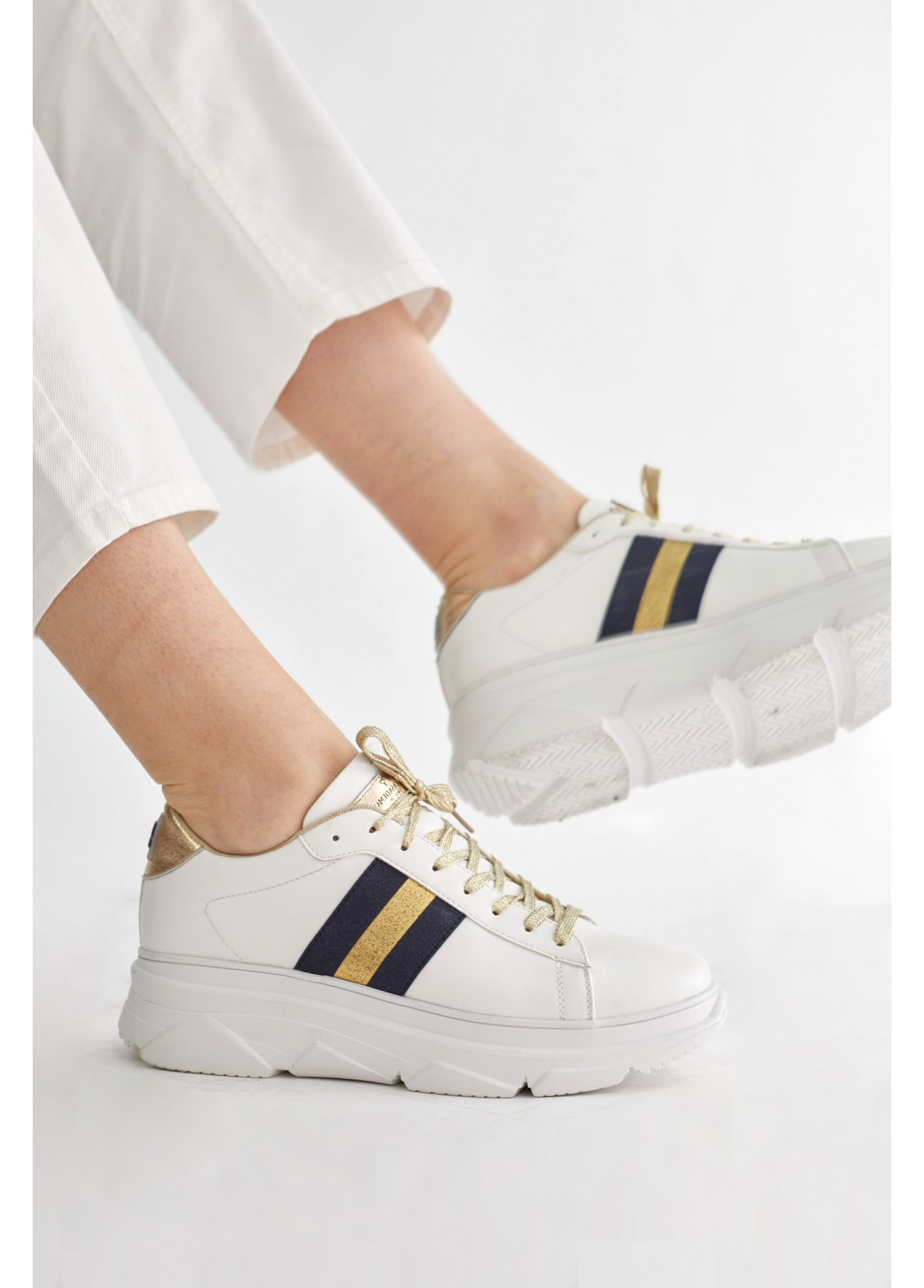 Sneaker raya dorada, blanco 2
