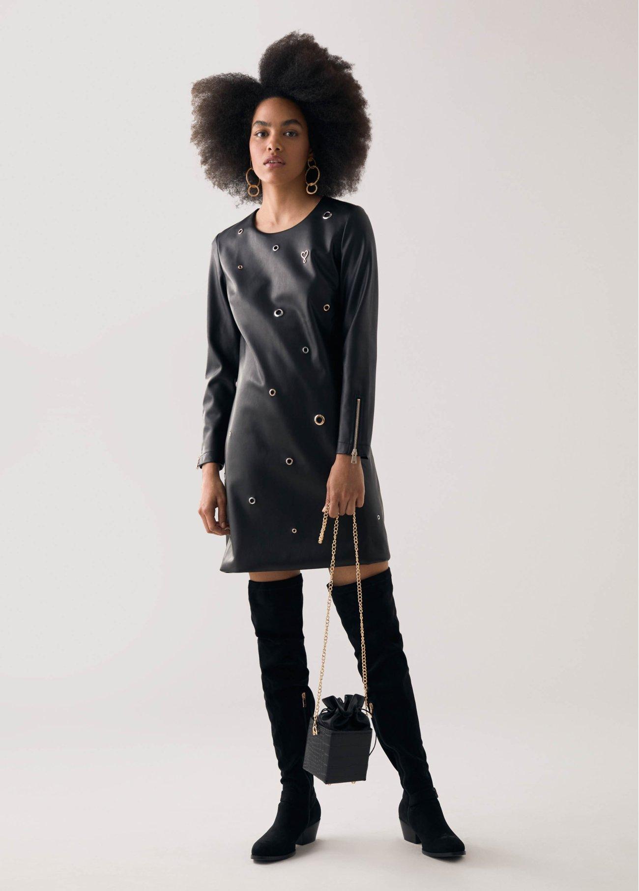 Vestido con detalles decorativos, negro 2
